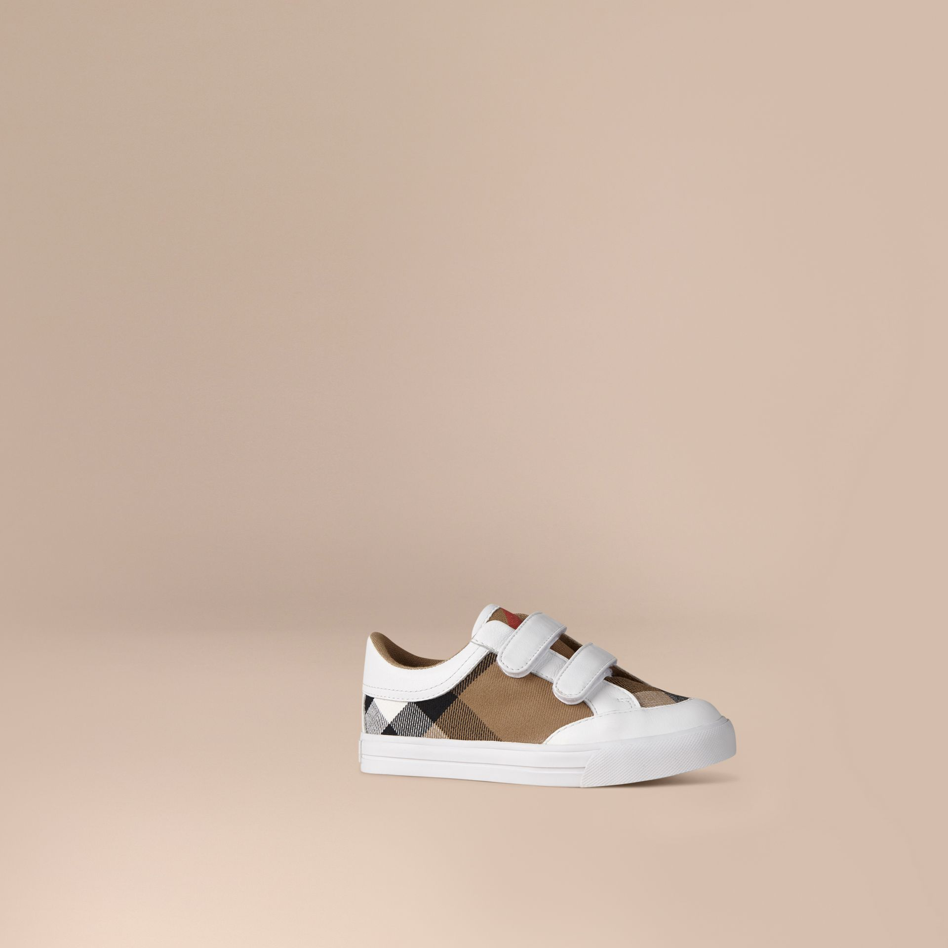 House Check and Leather Trainers in White | Burberry - gallery image 1