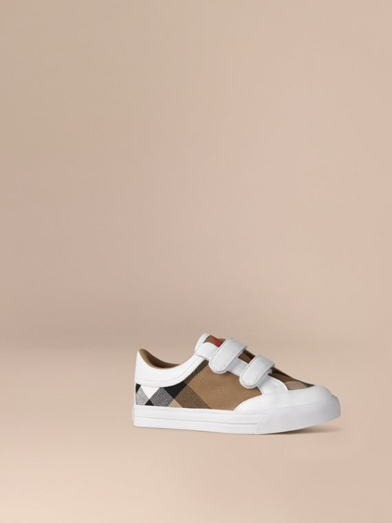 House Check and Leather Trainers in White