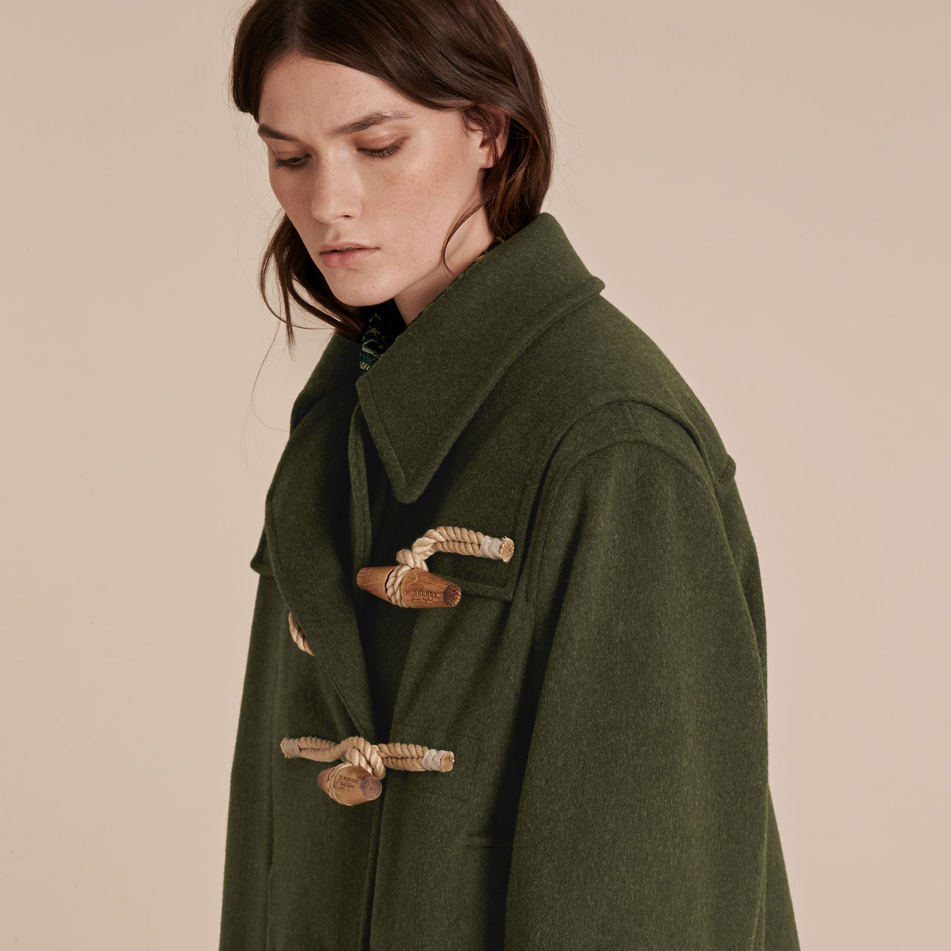 Moss green Military Wool Duffle Coat - gallery image 5