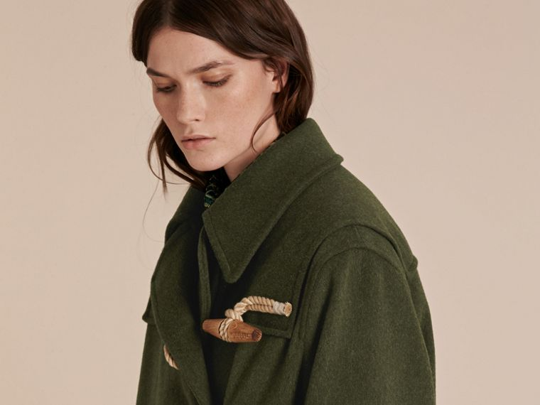 Moss green Military Wool Duffle Coat - cell image 4
