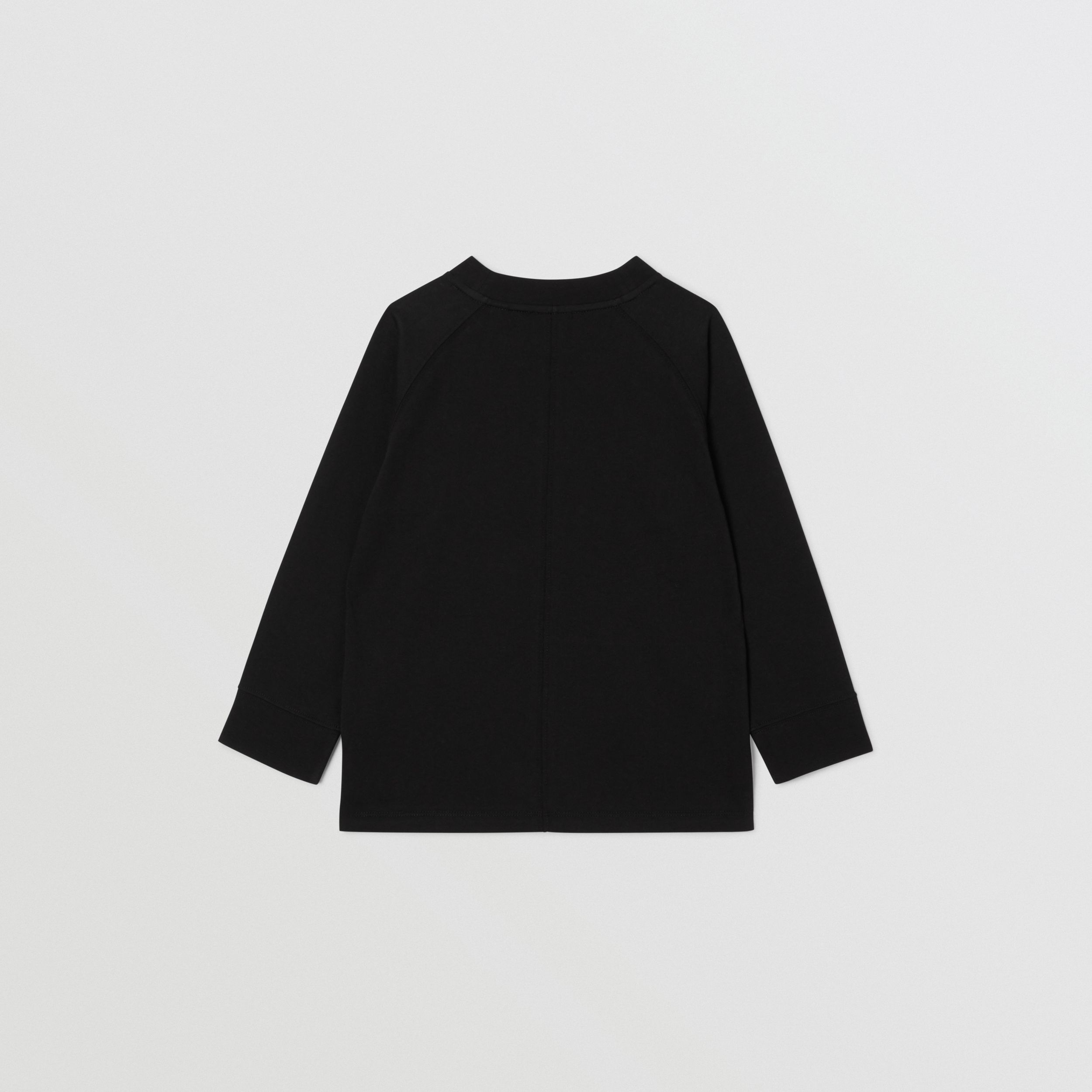 Long-sleeve Logo Print Cotton Top in Black | Burberry - 4