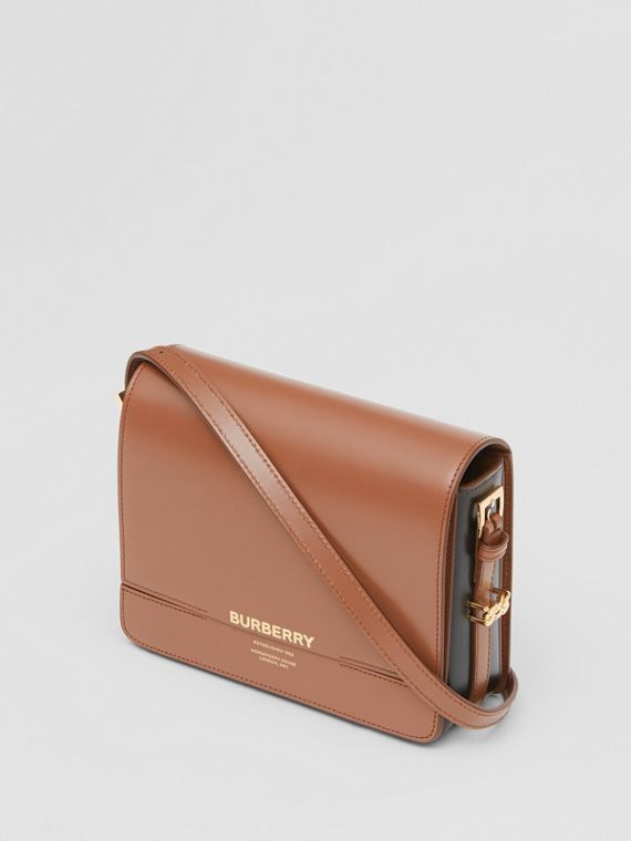 Small Two-tone Leather Grace Bag in Malt Brown/black