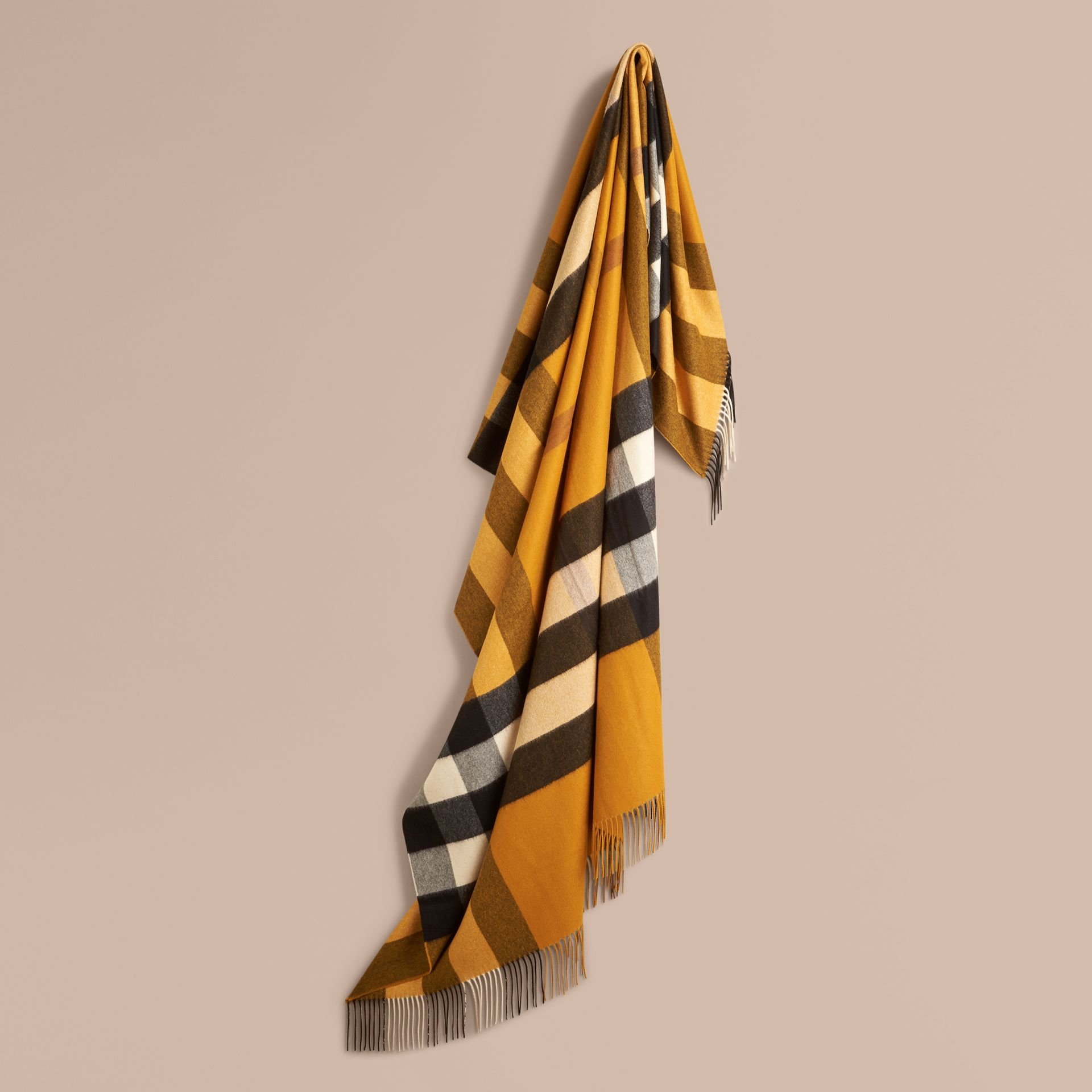 Amber yellow Check Cashmere Blanket Amber Yellow - gallery image 1