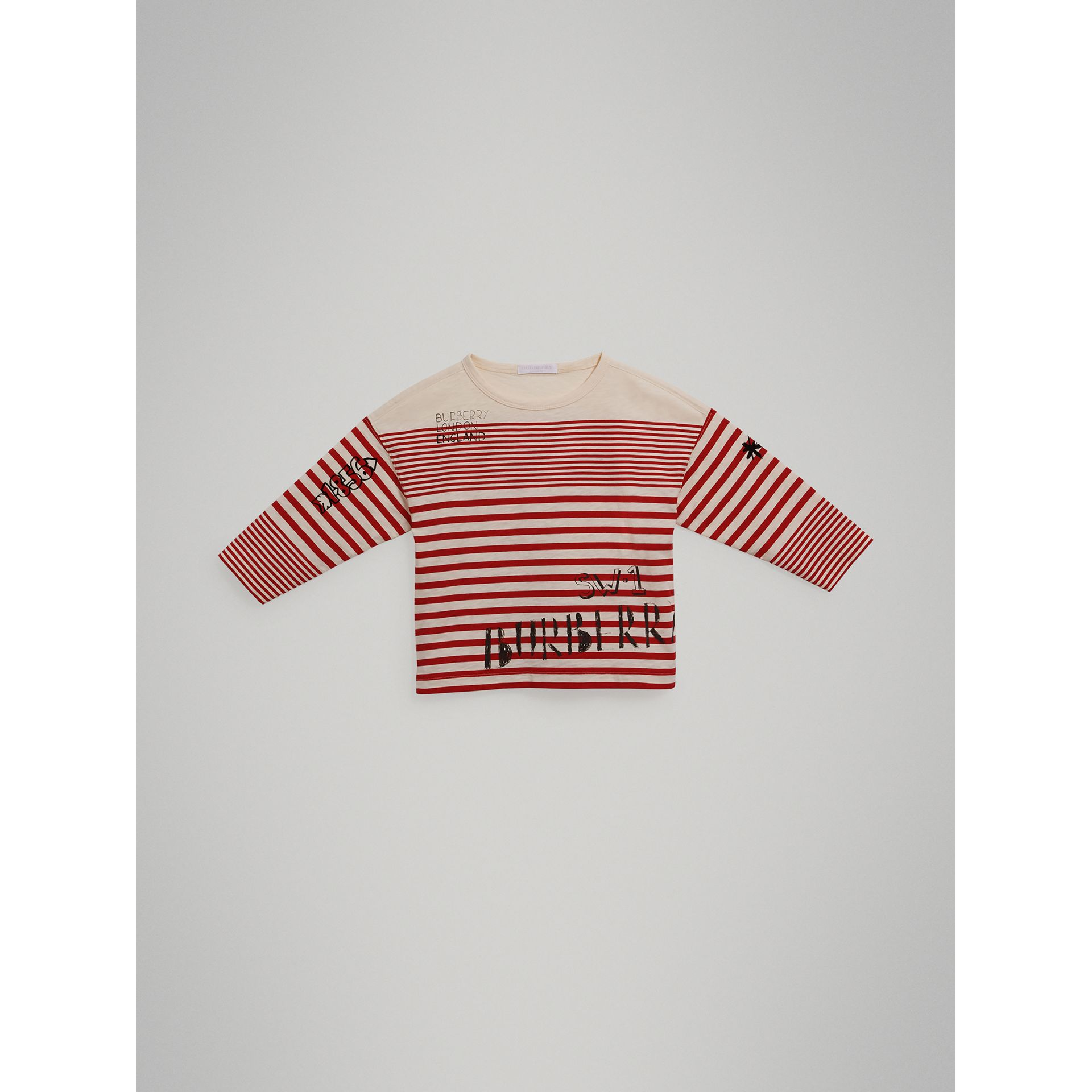 SW1 Print Striped Cotton Top in Bright Red/natural White - Boy | Burberry United Kingdom - gallery image 0