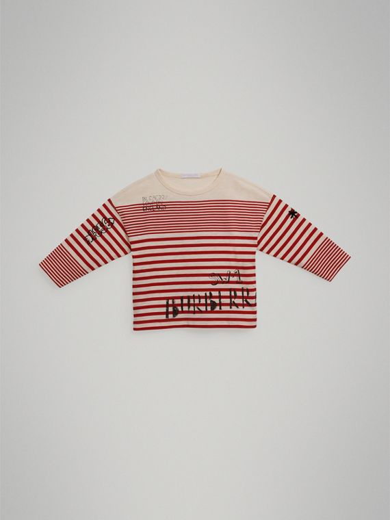 SW1 Print Striped Cotton Top in Bright Red/natural White