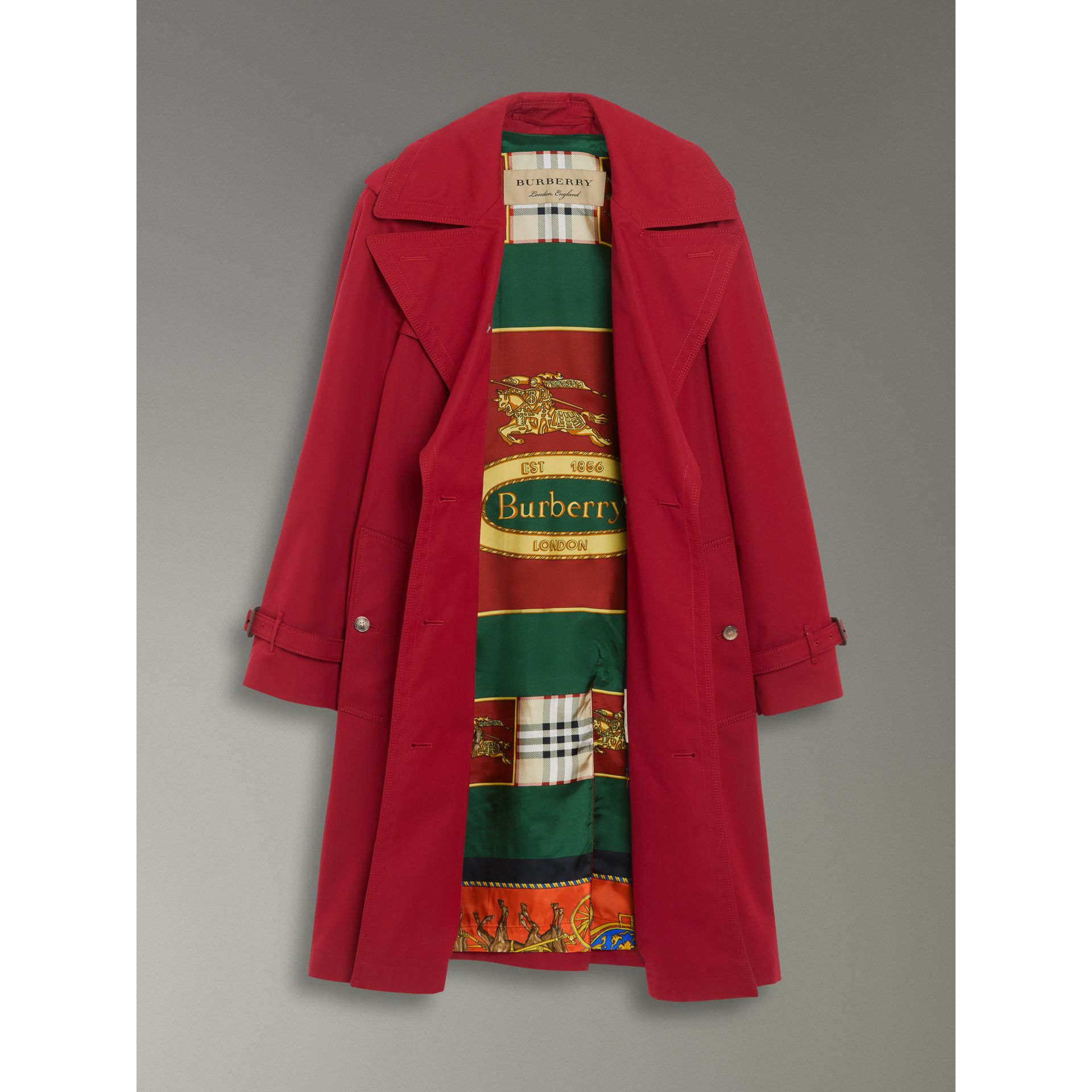 Scarf-print-lined Tropical Gabardine Trench Coat in Parade Red - Women | Burberry Canada - gallery image 1