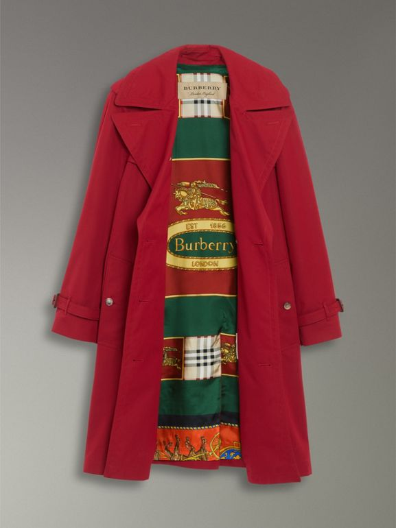 Scarf-print-lined Tropical Gabardine Trench Coat in Parade Red - Women | Burberry - cell image 1