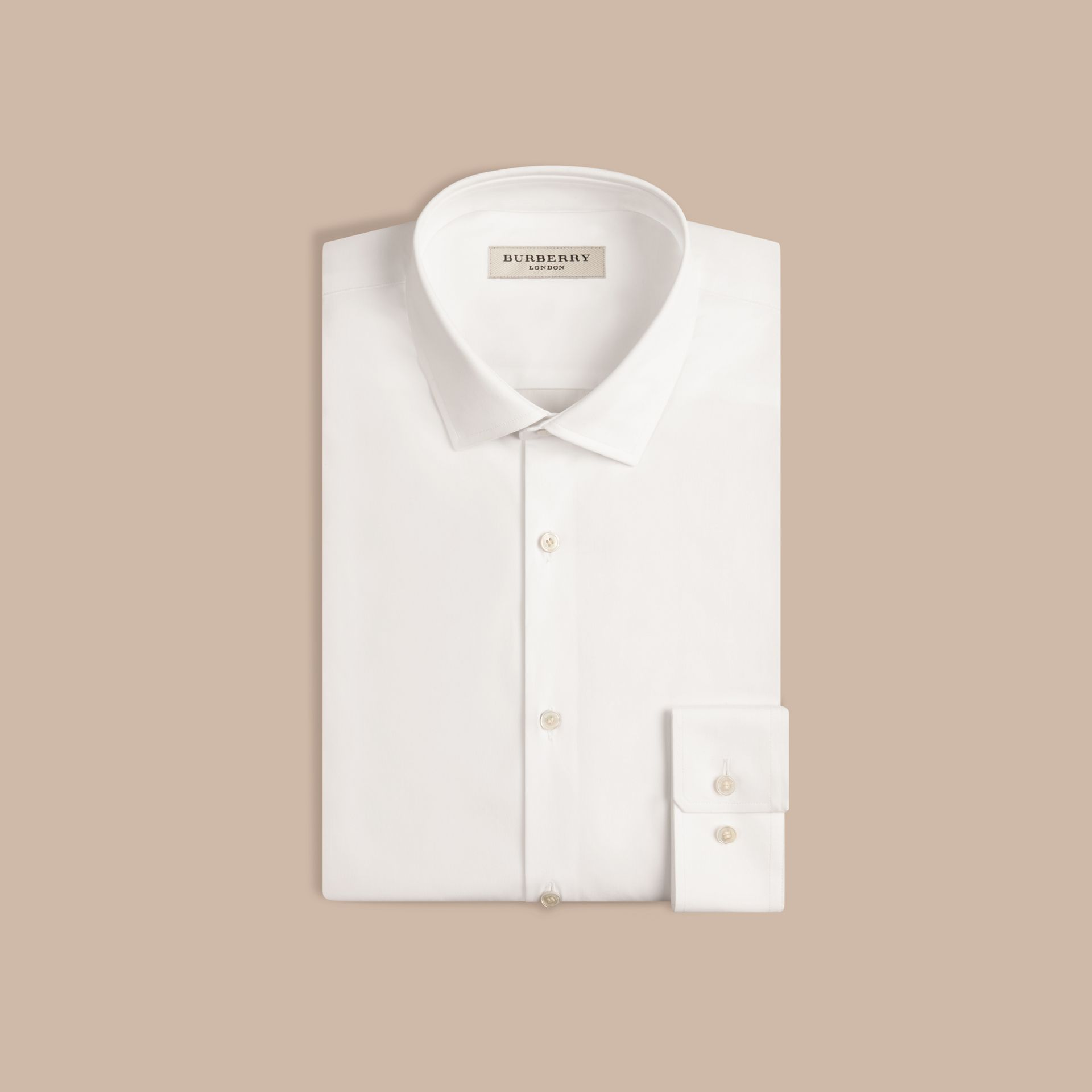 Slim Fit Stretch Cotton Poplin Shirt in White - gallery image 4