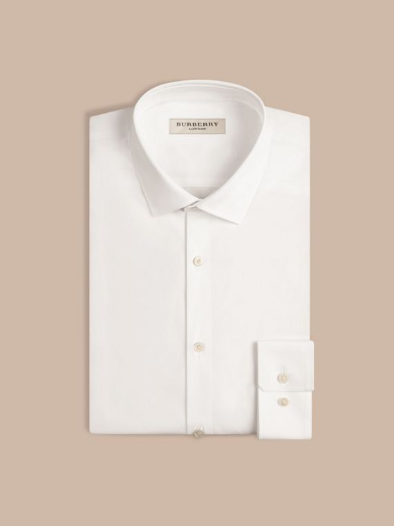 Slim Fit Stretch Cotton Poplin Shirt in White - Men | Burberry - cell image 3