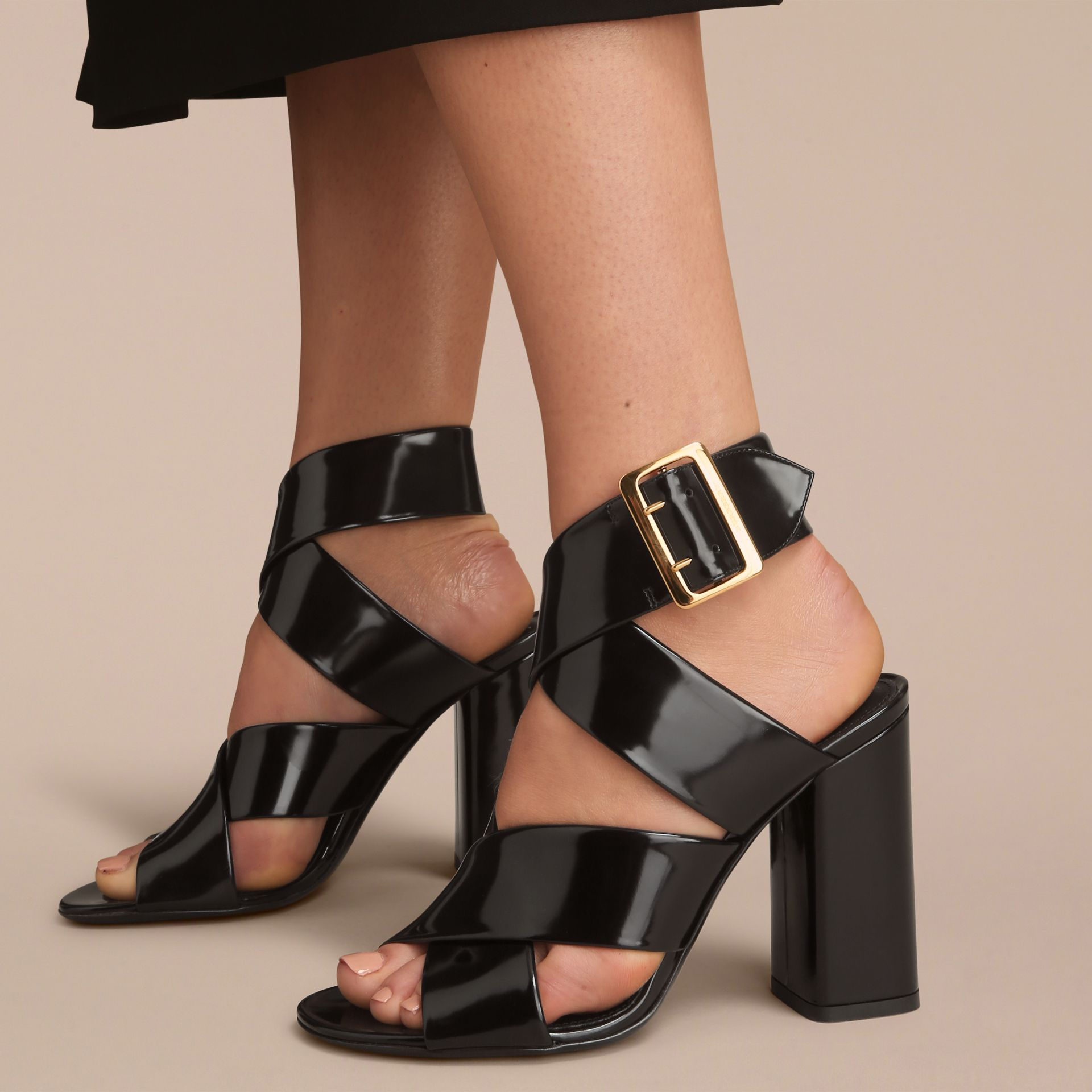 Buckle Detail Patent Leather Sandals in Black - Women | Burberry - gallery image 3