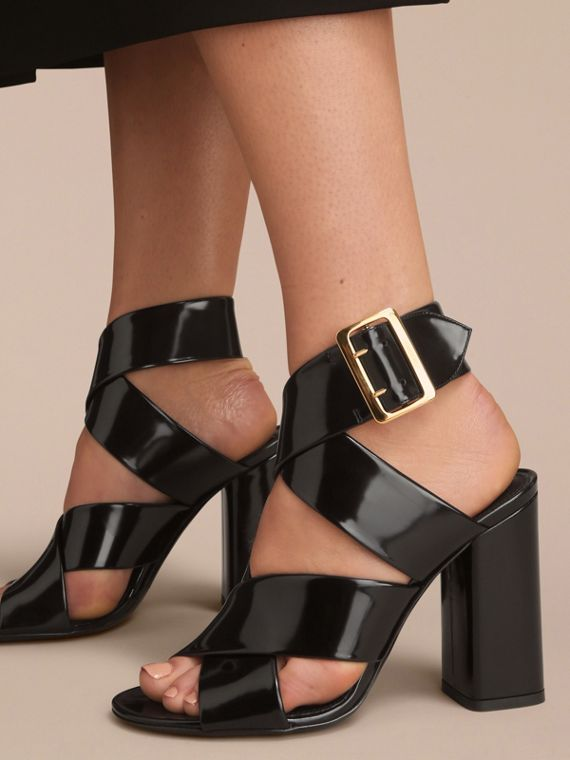Buckle Detail Patent Leather Sandals in Black - Women | Burberry - cell image 2