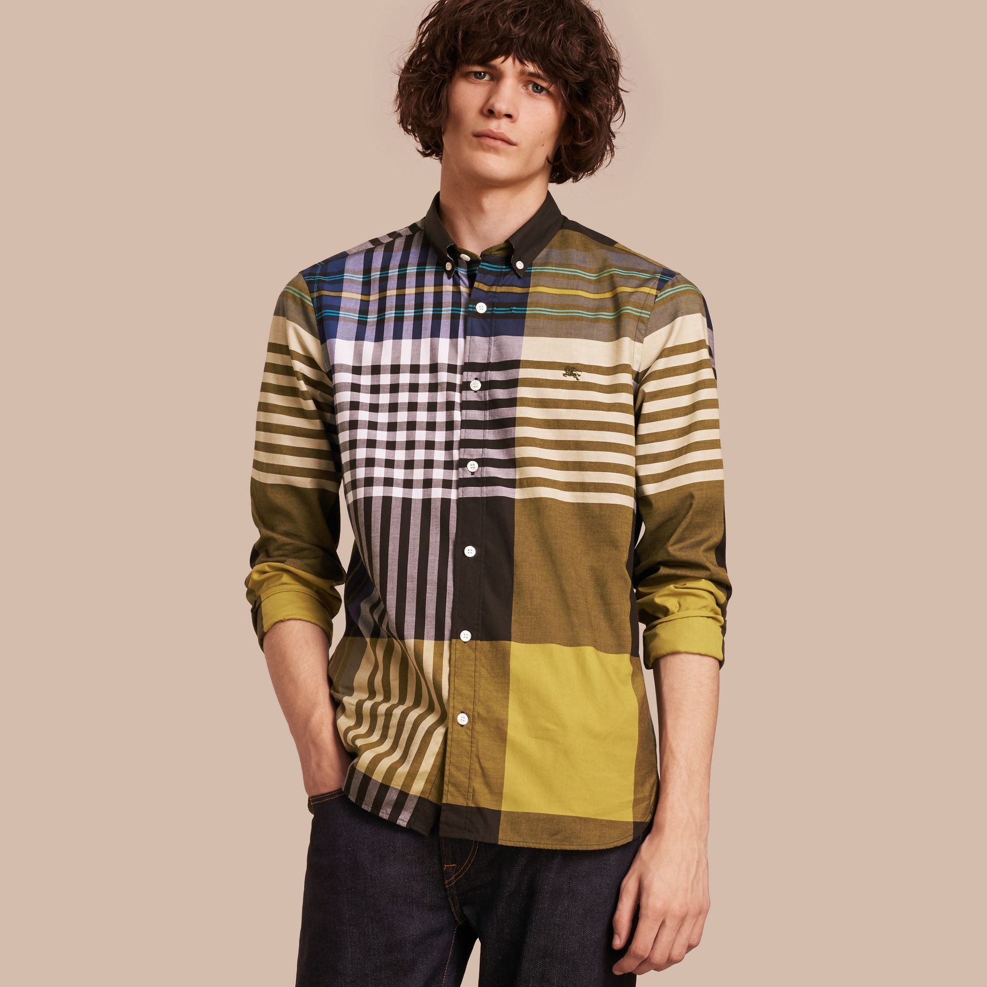 Graphic Tartan Cotton Shirt in Larch Yellow - gallery image 1