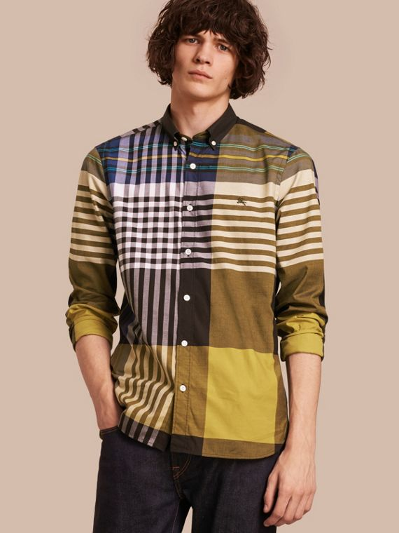 Graphic Tartan Cotton Shirt Larch Yellow