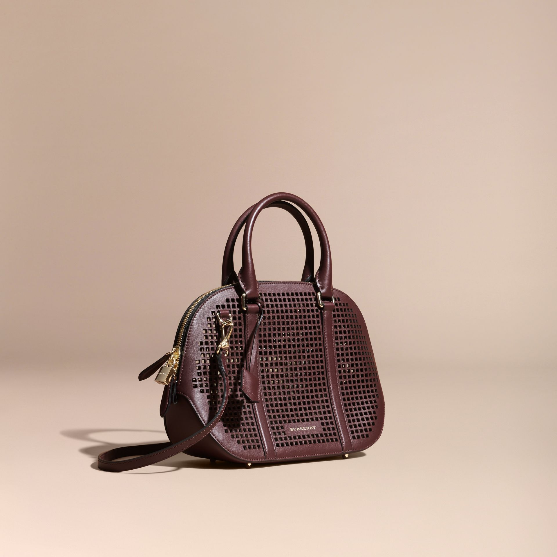 Deep claret The Small Orchard in Laser-cut Leather - gallery image 1
