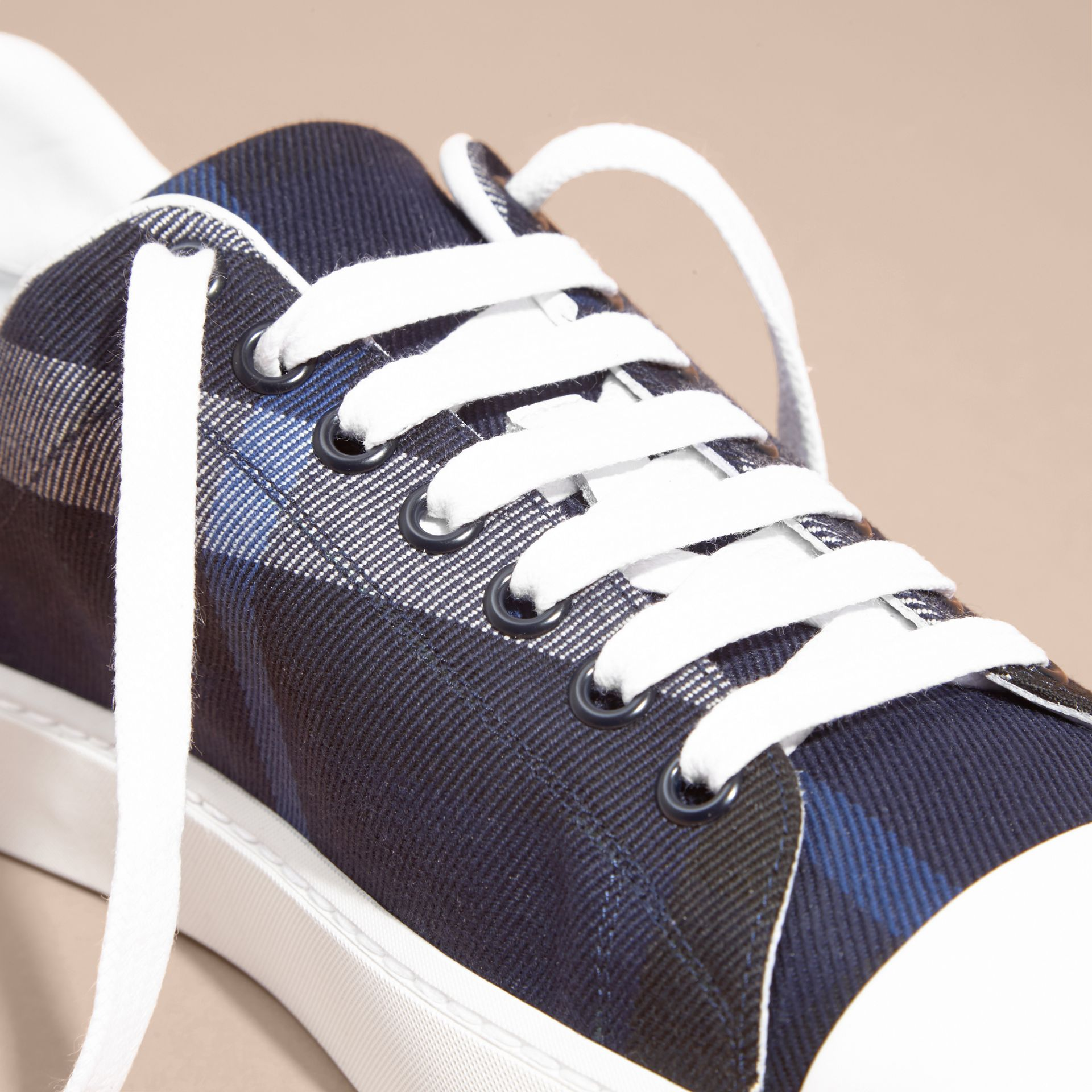Check and Leather Trainers Indigo Blue - gallery image 2