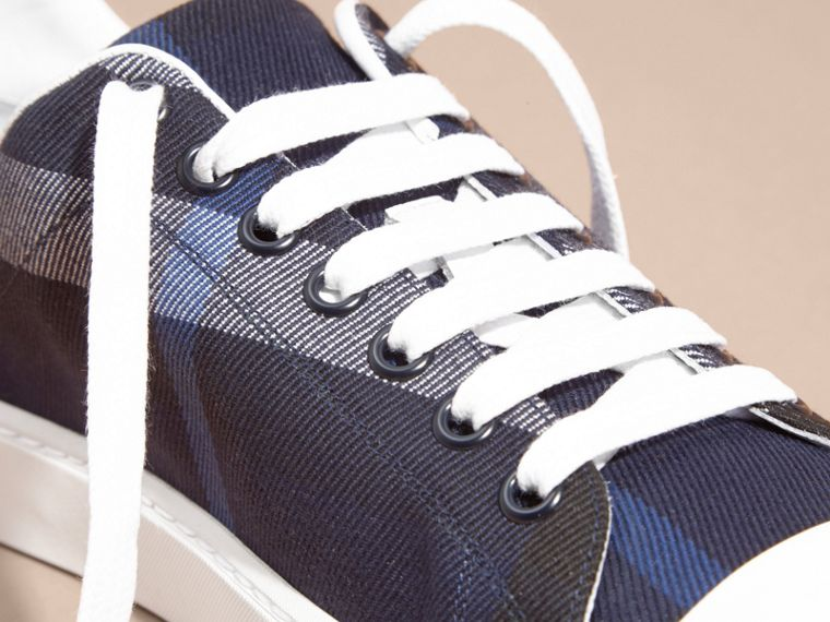 Check and Leather Trainers Indigo Blue - cell image 1