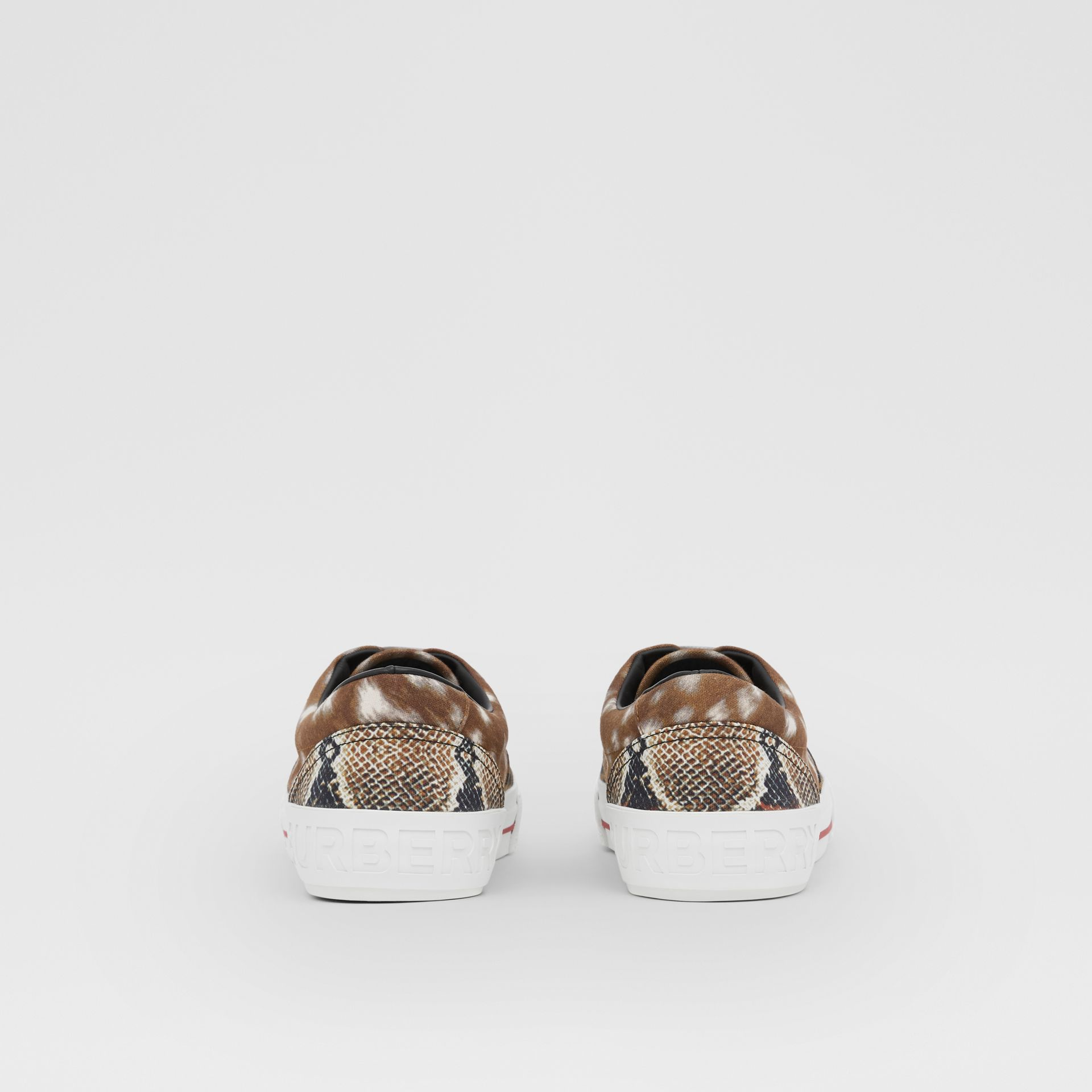Animal Print Cotton Canvas Sneakers in Honey - Men | Burberry United Kingdom - gallery image 3