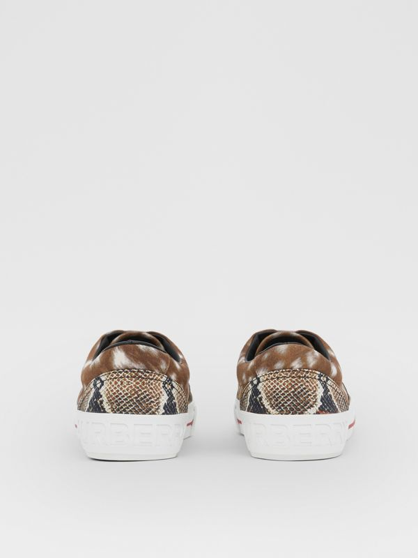 Animal Print Cotton Canvas Sneakers in Honey - Men | Burberry United Kingdom - cell image 3