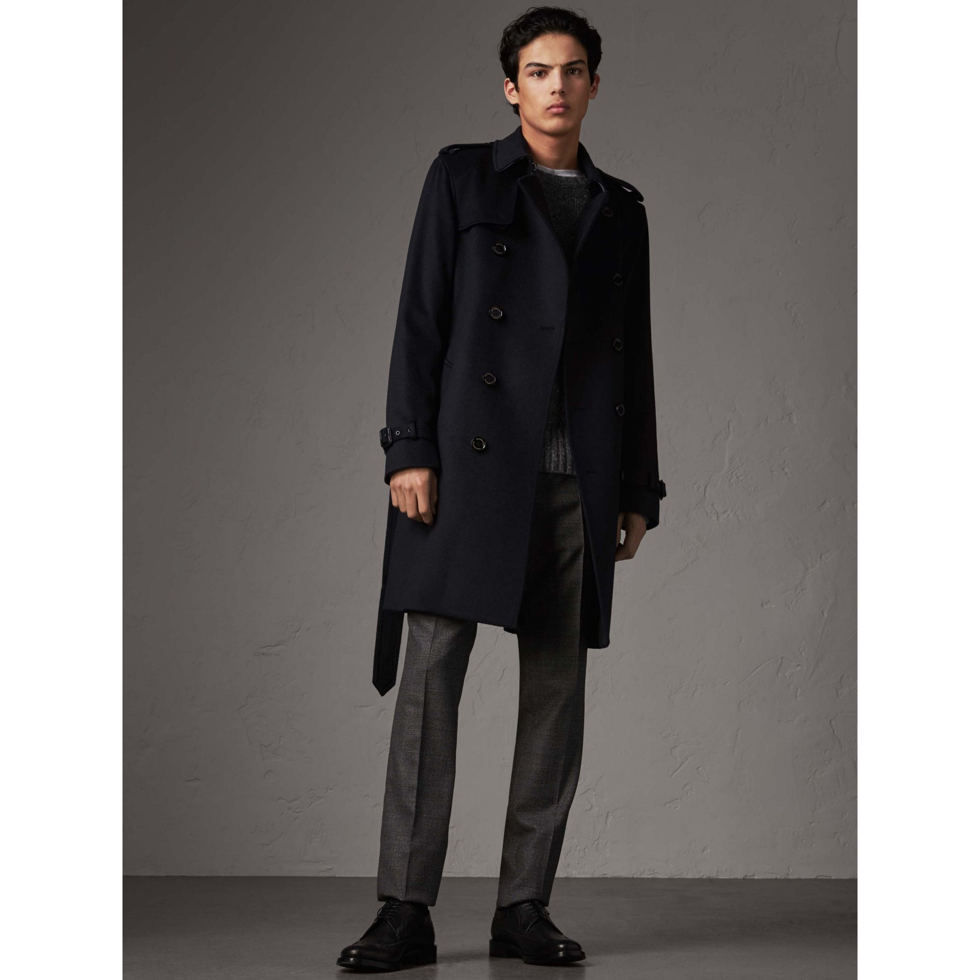 Cashmere Trench Coat in Navy - Men | Burberry Australia - gallery image 0