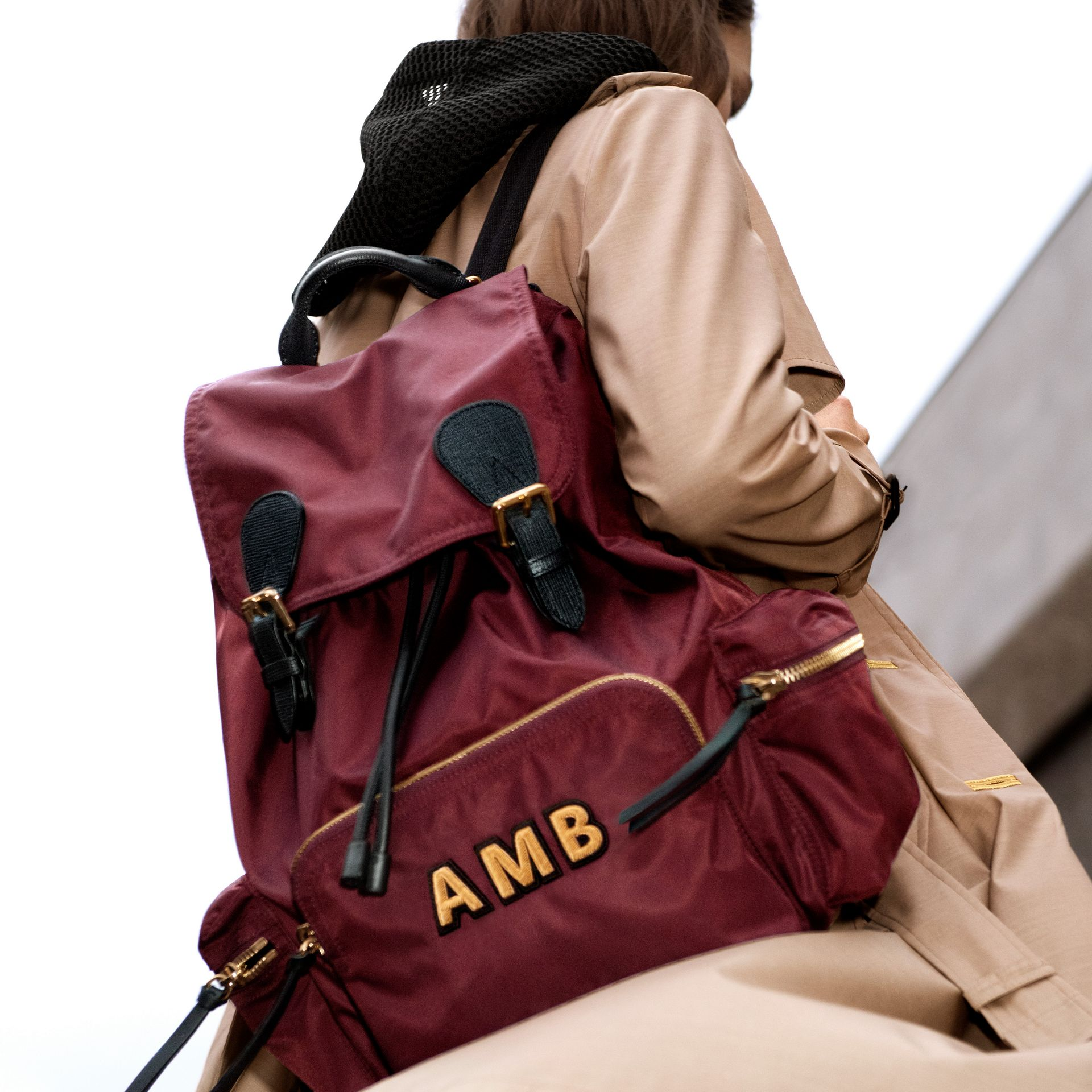 The Large Rucksack in Technical Nylon and Leather in Burgundy Red - Women | Burberry - gallery image 9