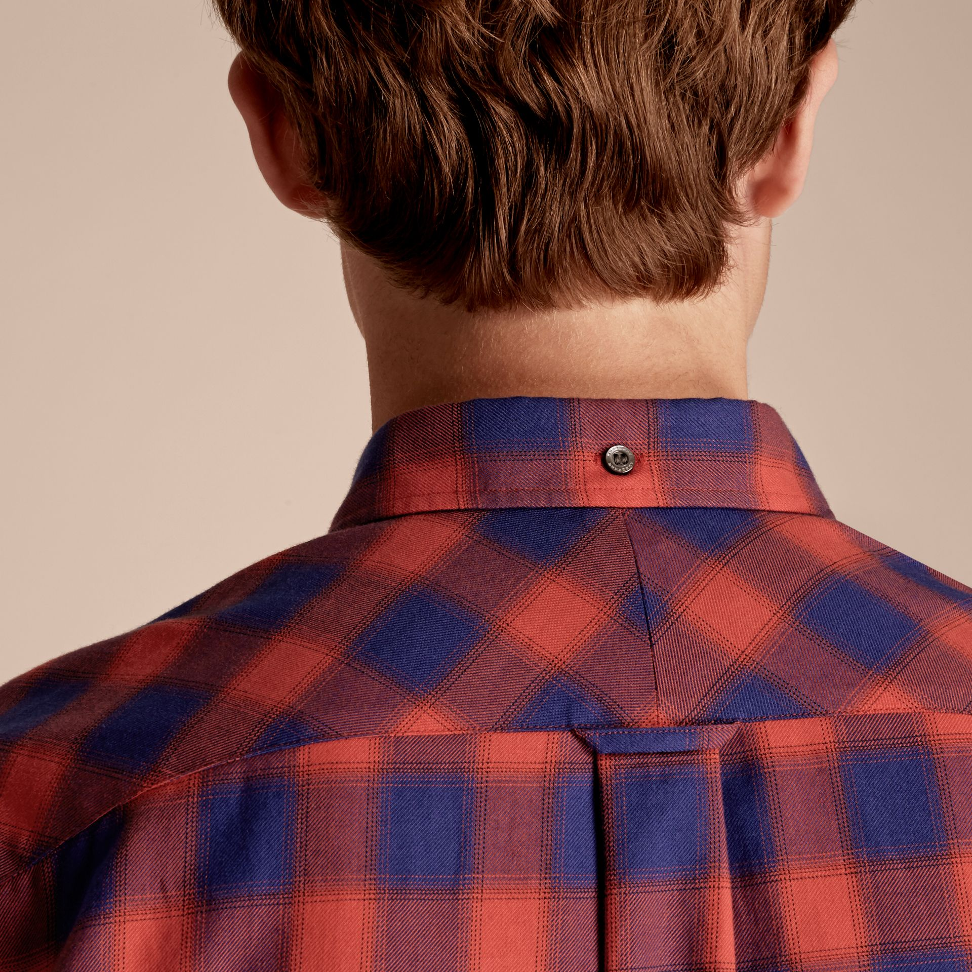 Orange red Gingham Check Cotton Shirt Orange Red - gallery image 5