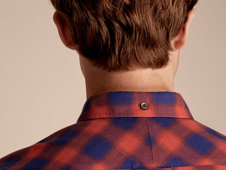 Orange red Gingham Check Cotton Shirt Orange Red - cell image 4