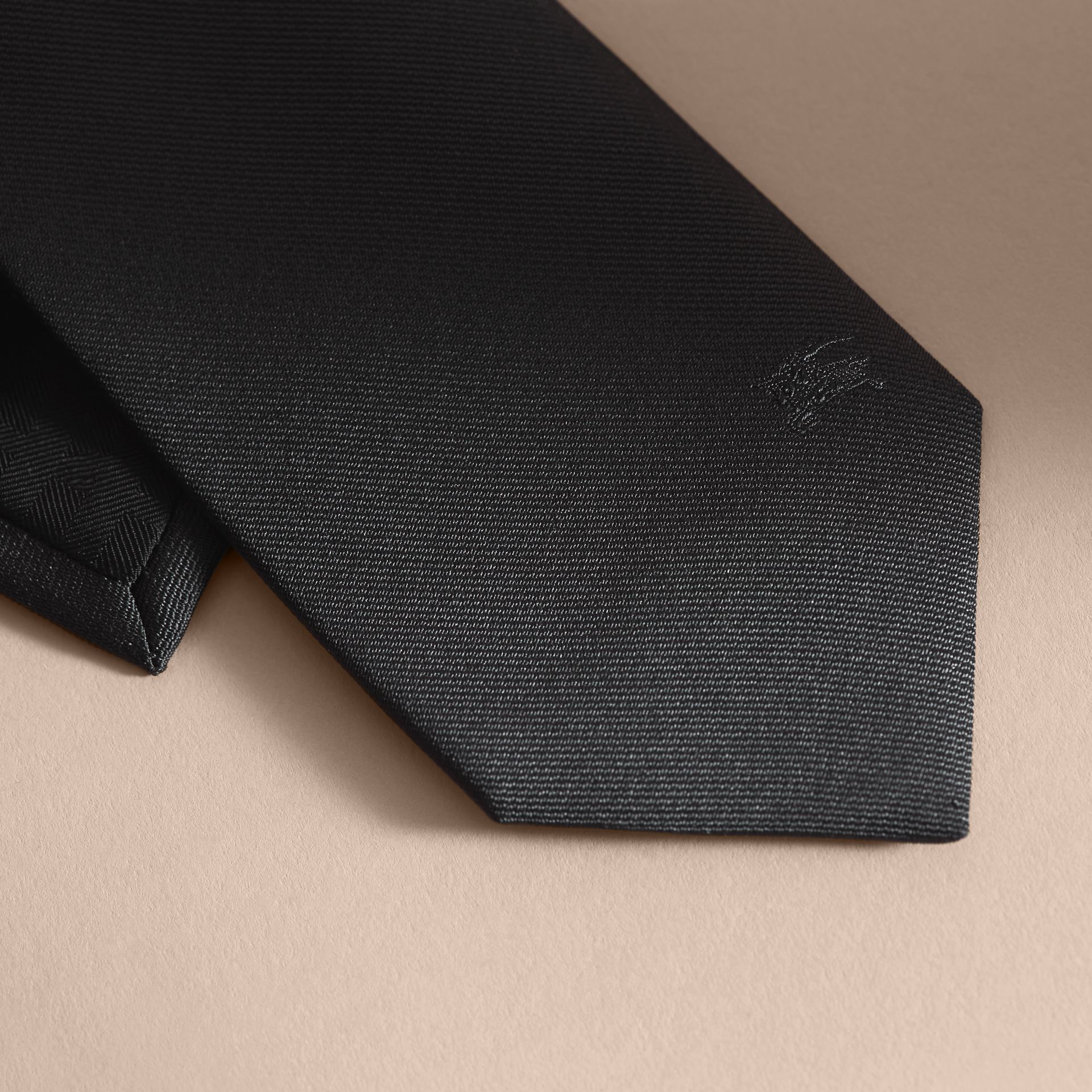 Modern Cut Silk Twill Tie Black - gallery image 2