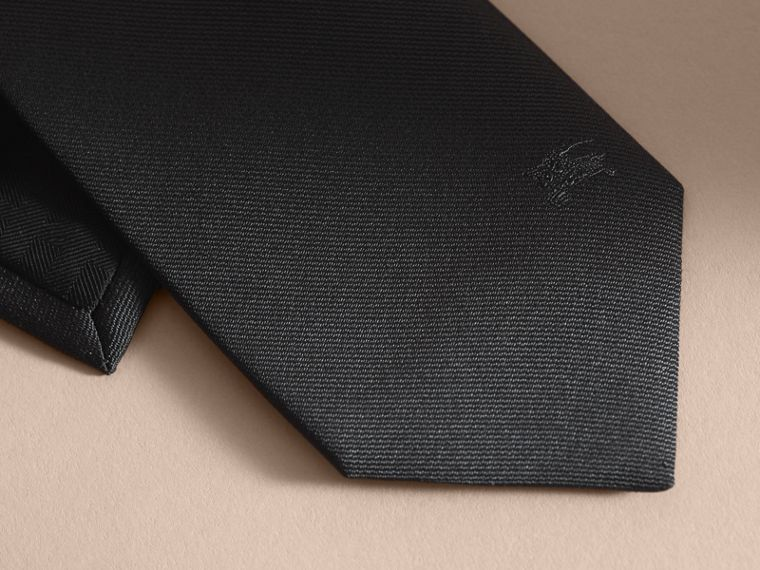 Modern Cut Silk Twill Tie in Black - cell image 1