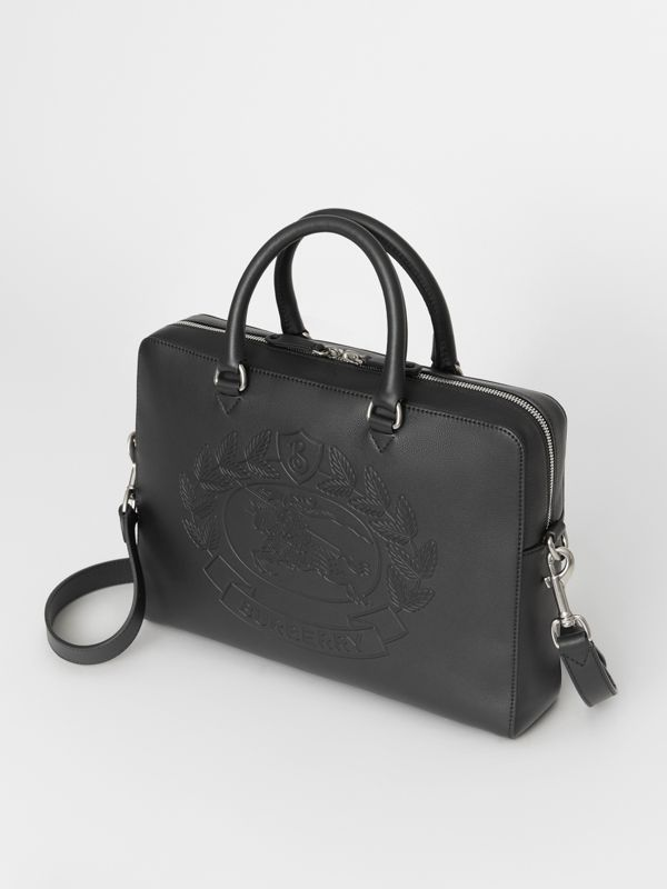 Embossed Crest Leather Briefcase in Black - Men | Burberry Australia - cell image 2