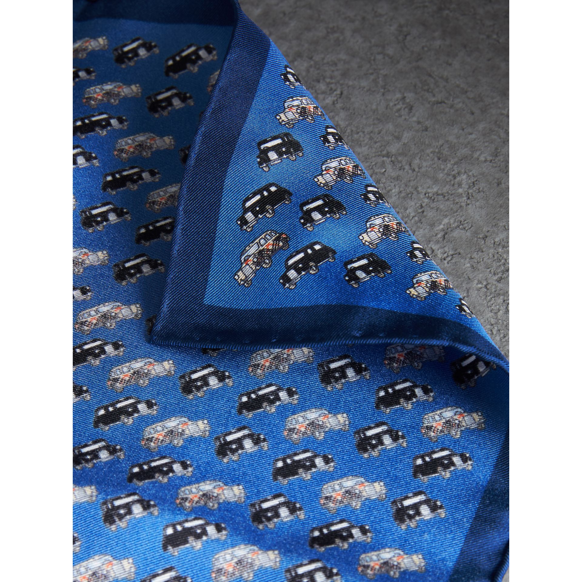 Taxi Print Silk Pocket Square in Hydrangea Blue - Men | Burberry Canada - gallery image 1