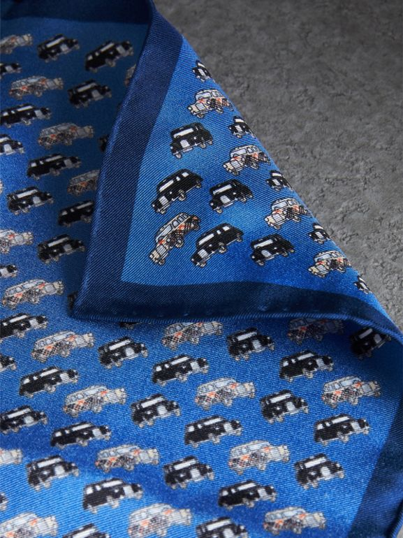 Taxi Print Silk Pocket Square in Hydrangea Blue - Men | Burberry Canada - cell image 1