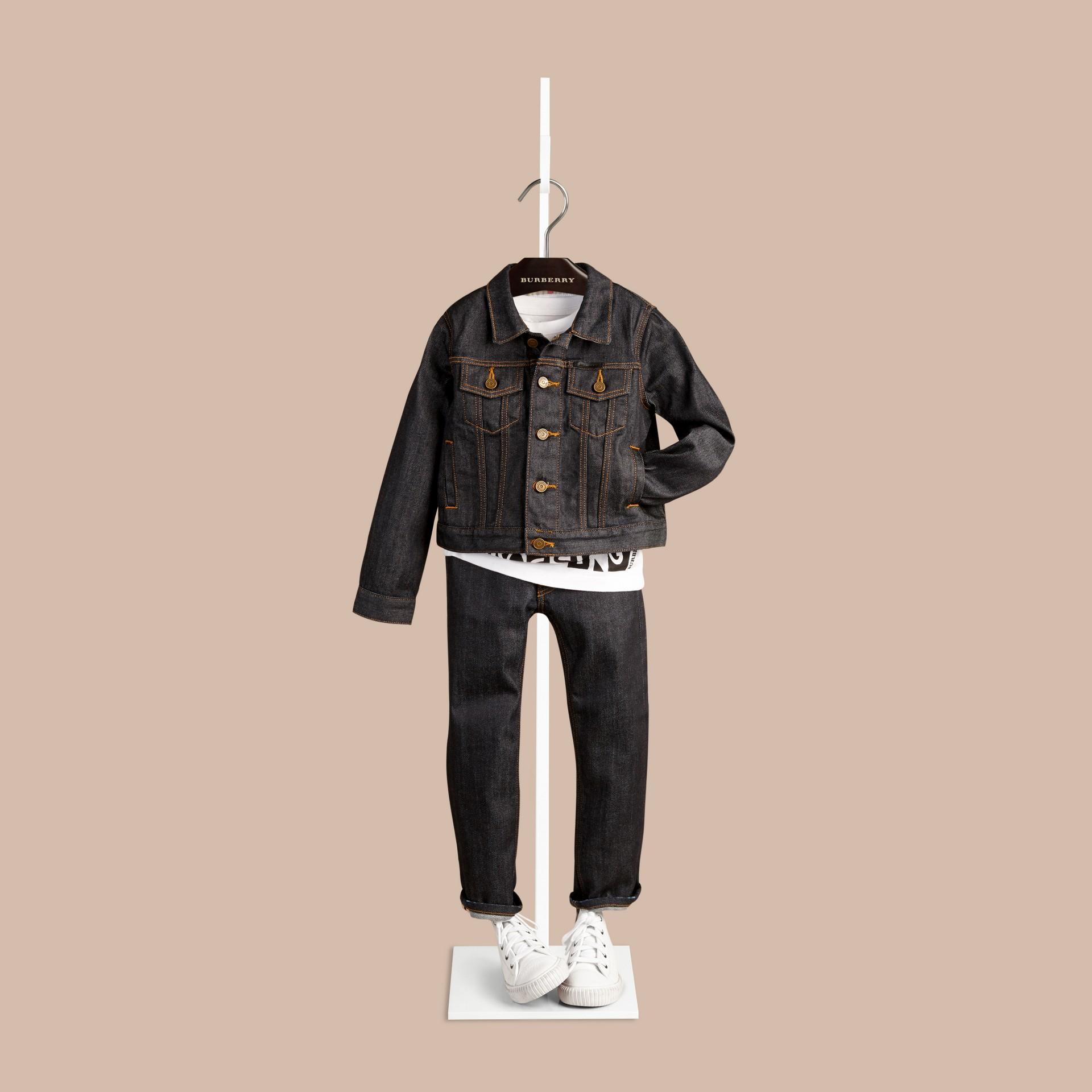 Dark indigo Jaqueta de tecido jeans japonês com detalhe xadrez - galeria de imagens 2