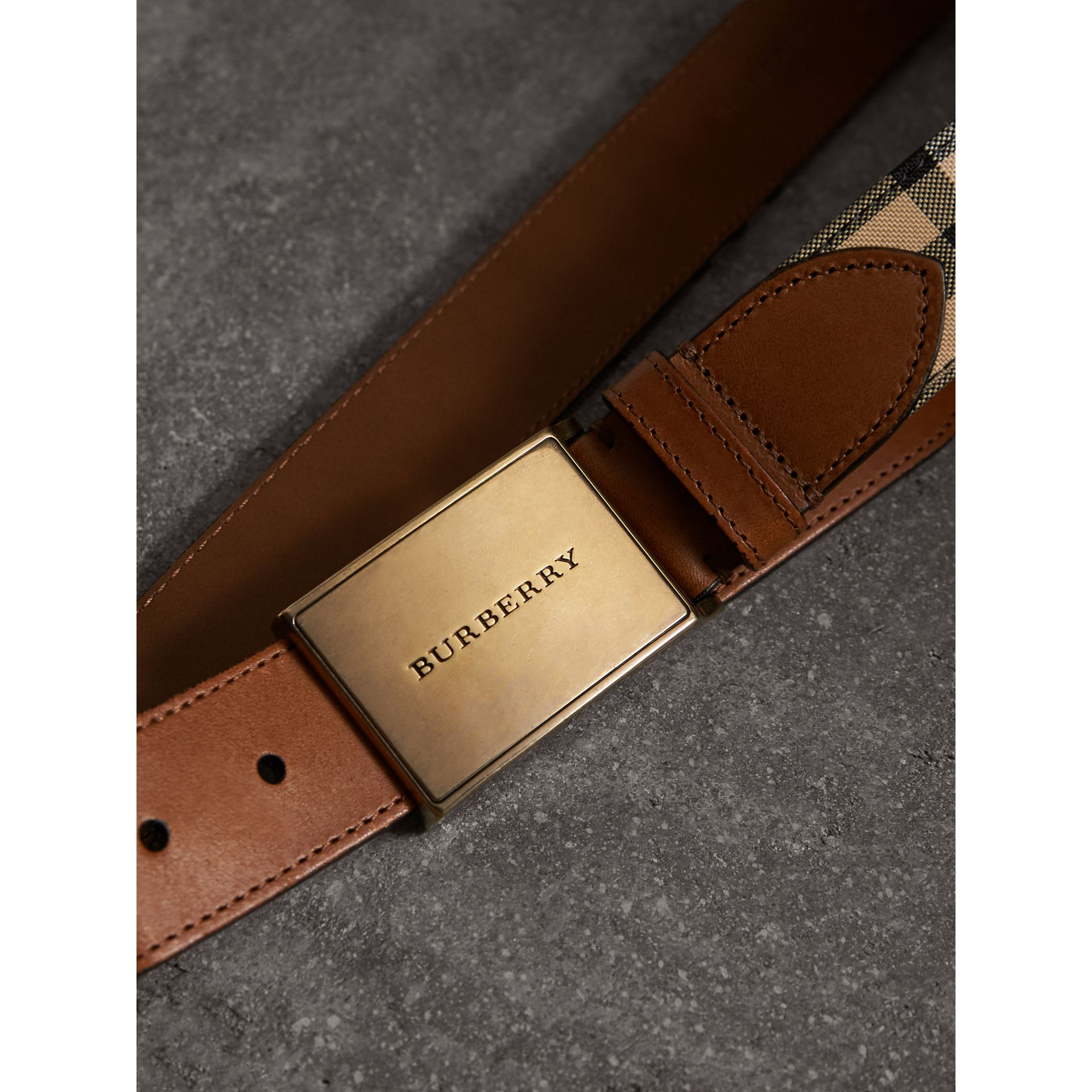 Horseferry Check and Leather Belt in Tan - Men | Burberry United Kingdom - gallery image 1