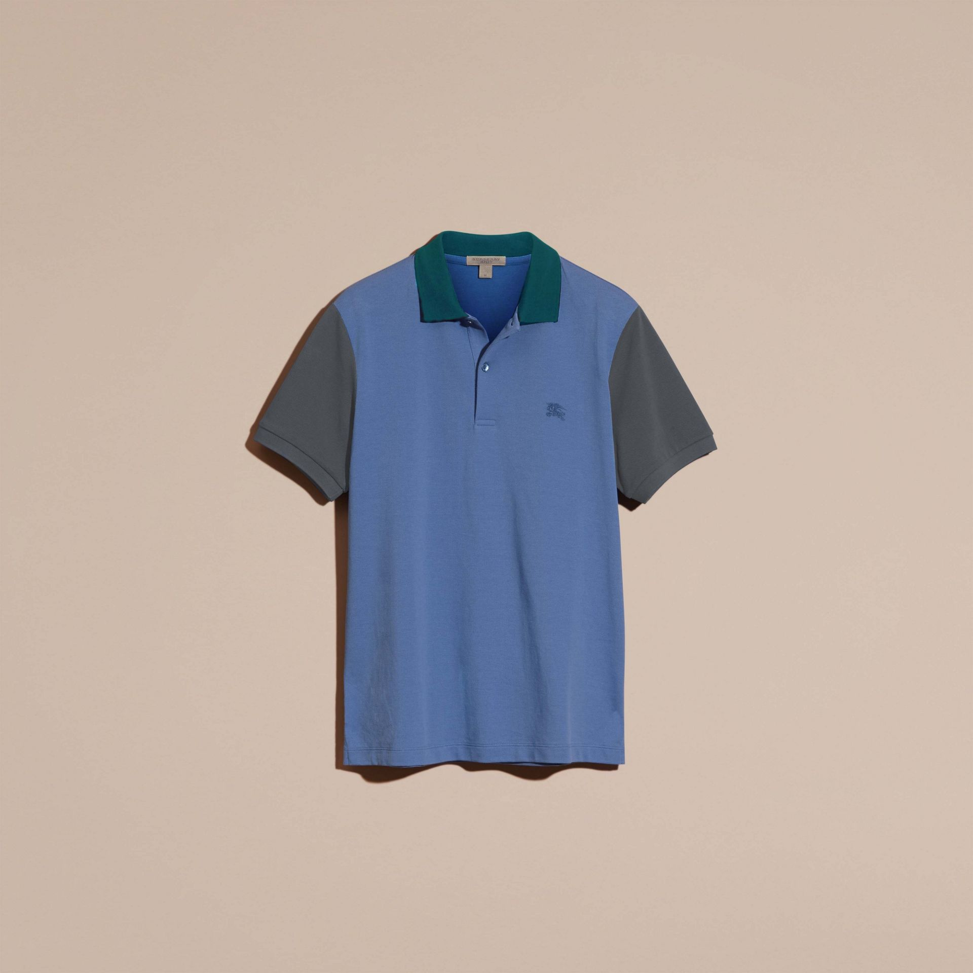 Bright hydrangea blue Colour-block Cotton Piqué Polo Shirt Bright Hydrangea Blue - gallery image 4