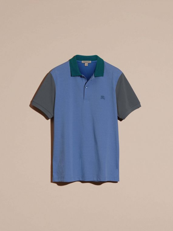Bright hydrangea blue Colour-block Cotton Piqué Polo Shirt Bright Hydrangea Blue - cell image 3