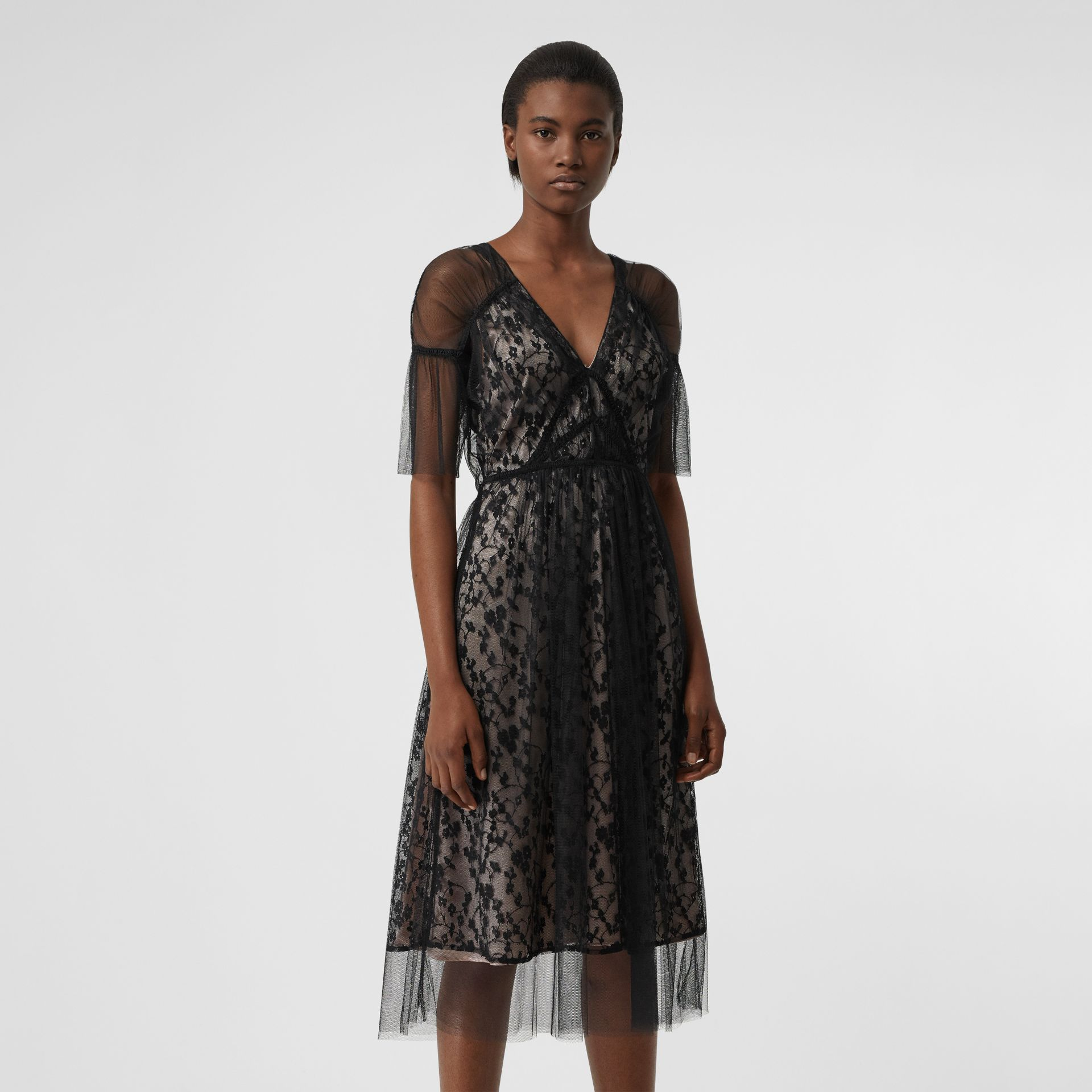 Ruffled Hem Embroidered Tulle Dress in Black - Women | Burberry - gallery image 4