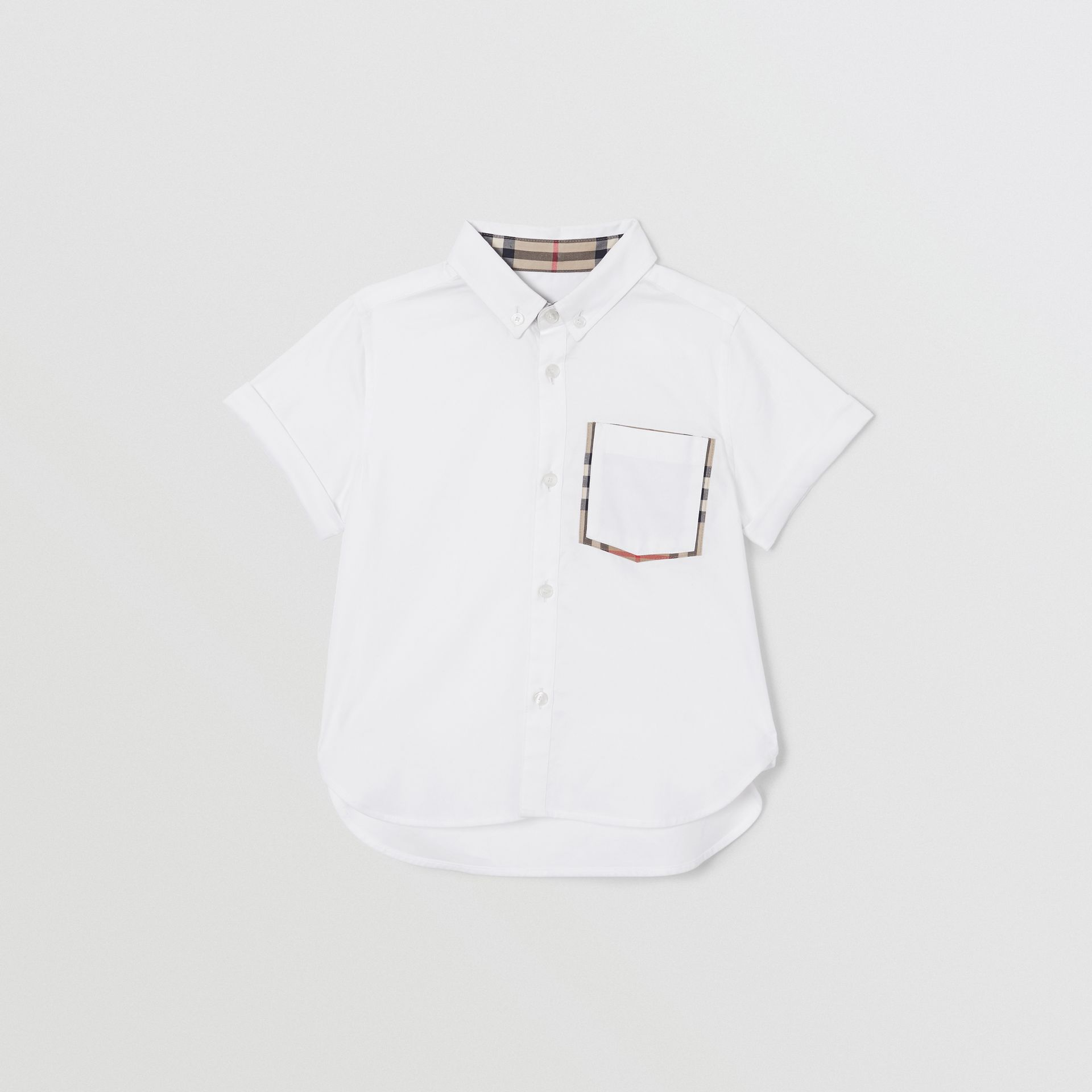Short-sleeve Vintage Check Trim Cotton Oxford Shirt in White | Burberry United States - gallery image 0