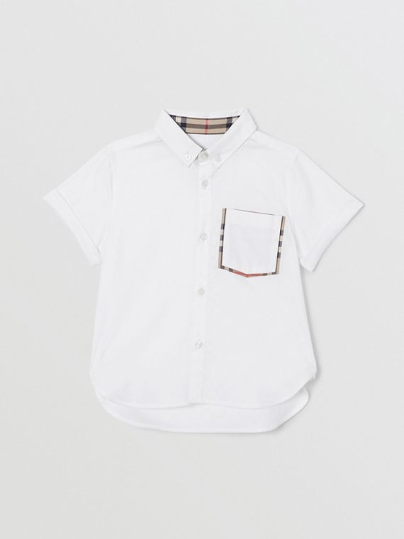 Short-sleeve Vintage Check Trim Cotton Oxford Shirt in White
