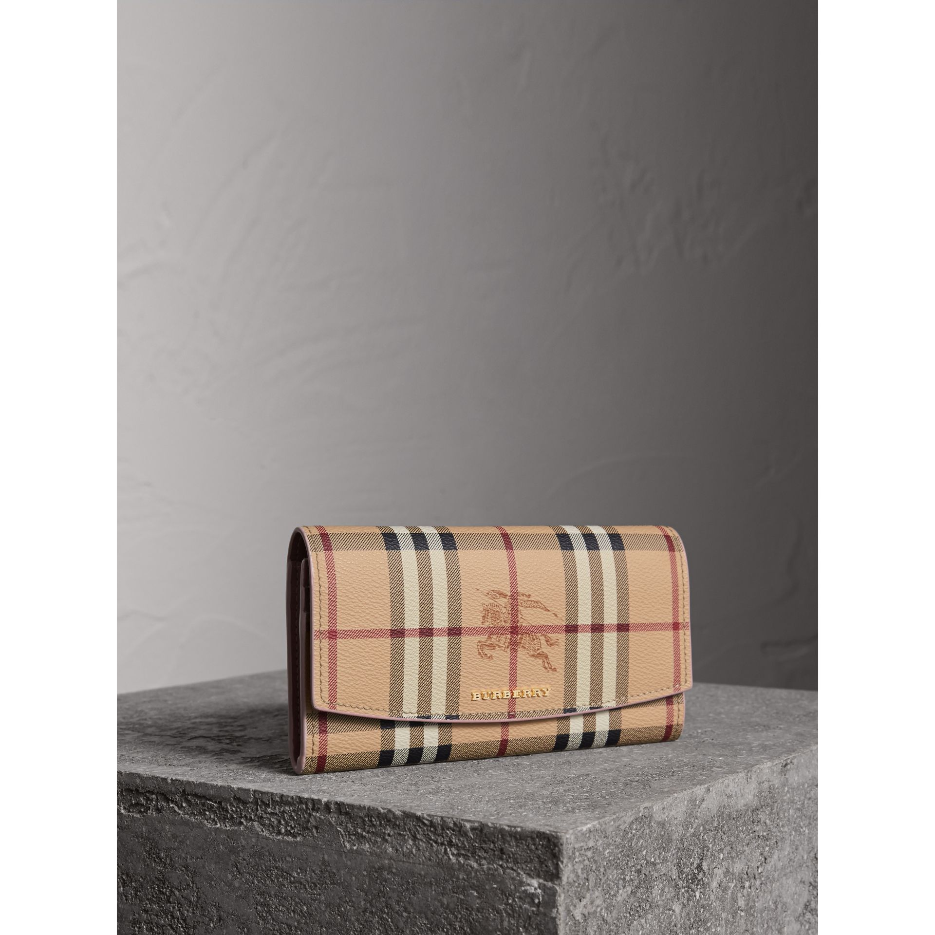 Haymarket Check and Leather Slim Continental Wallet in Light Elderberry - Women | Burberry Canada - gallery image 0