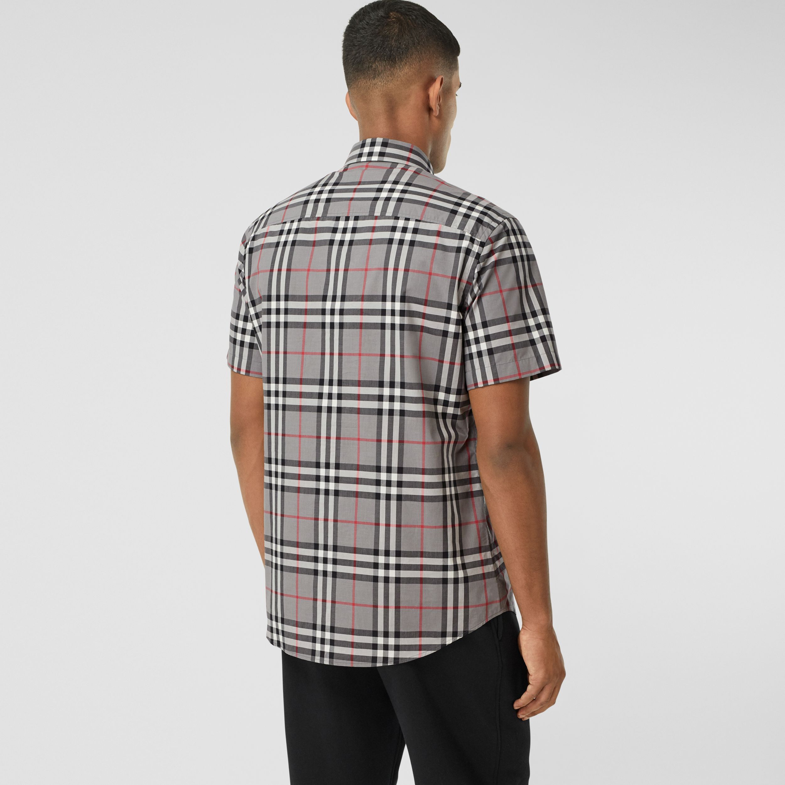 Short-sleeve Check Cotton Poplin Shirt in Storm Grey Melange - Men | Burberry - 3