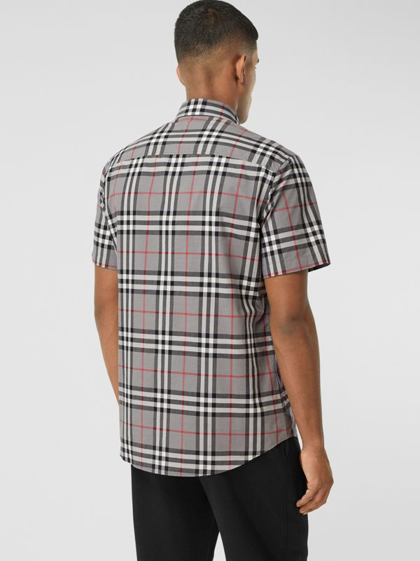 Short-sleeve Check Cotton Poplin Shirt in Storm Grey Melange - Men | Burberry United States - cell image 2