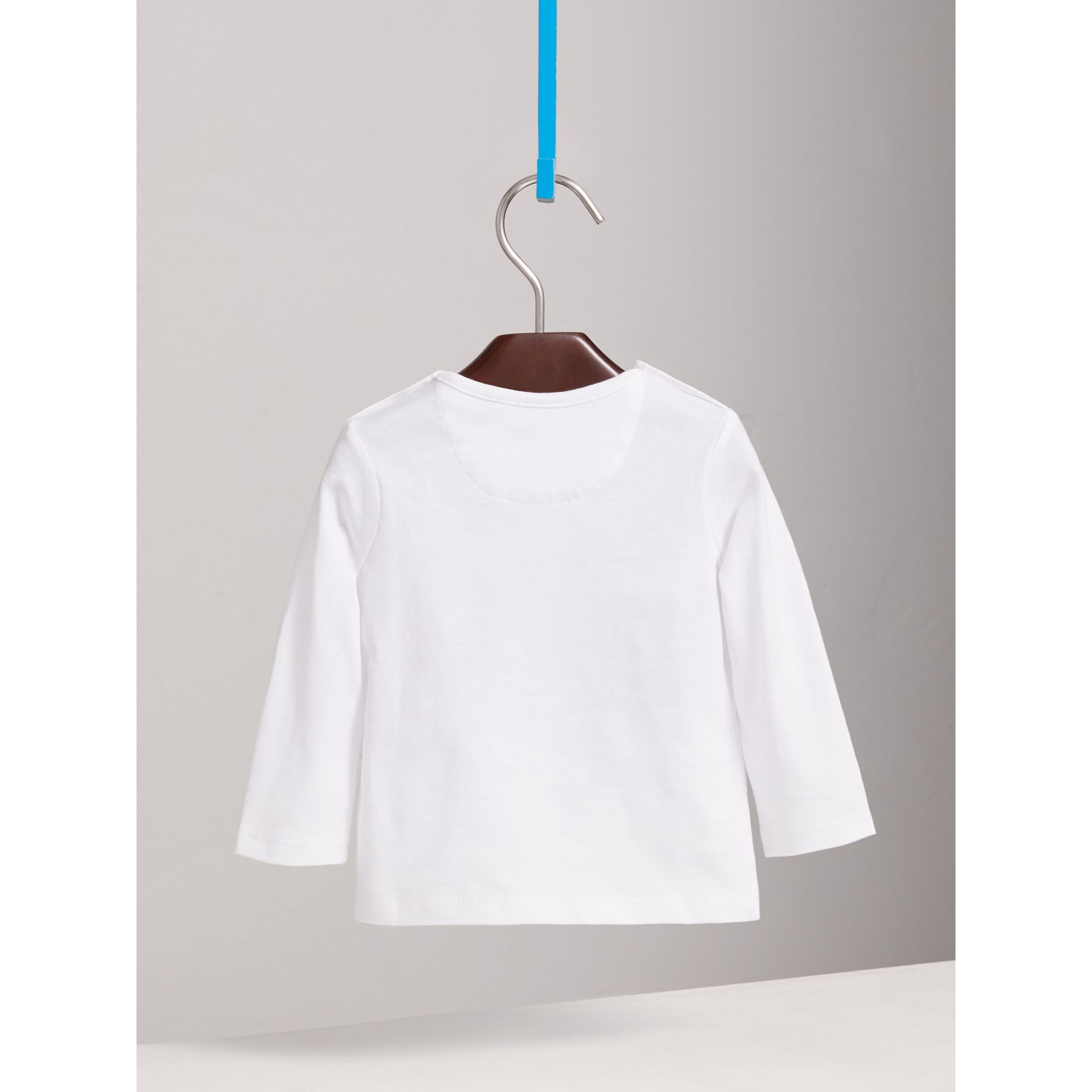 Check Pocket Cotton T-shirt in White | Burberry - gallery image 3