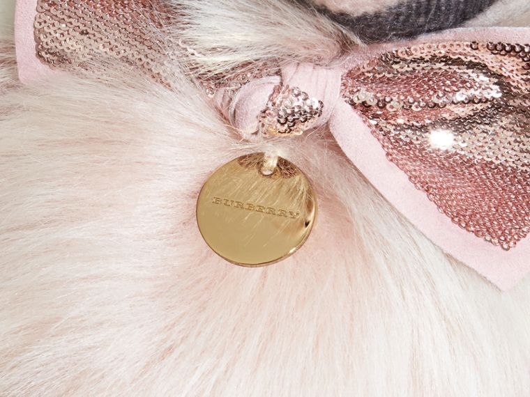 Pom-Pom Thomas Bear in Shearling and Check Cashmere in Ash Rose | Burberry - cell image 1