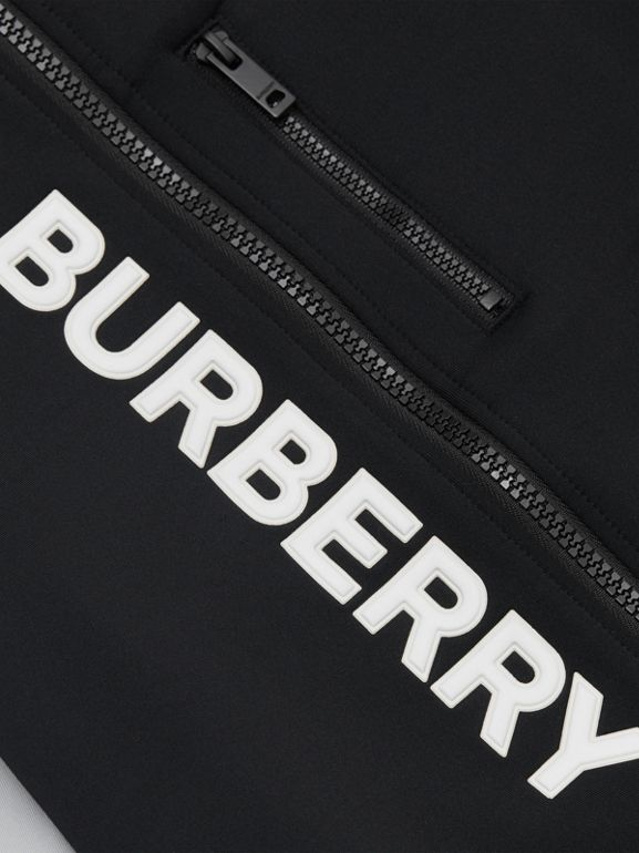 Logo Print Two-tone Stretch Jersey Track Top in Black | Burberry - cell image 1
