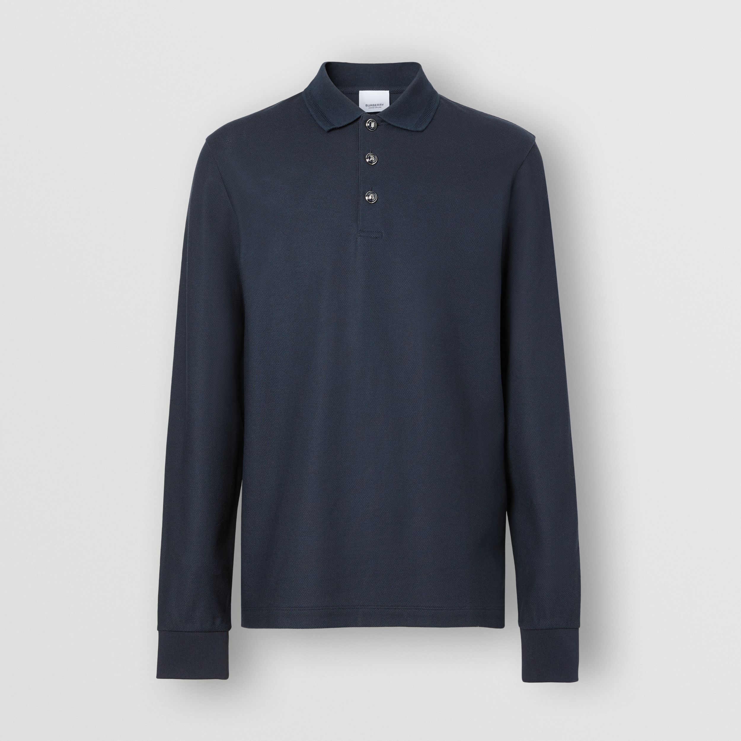 Long-sleeve Cotton Piqué Polo Shirt in Navy - Men | Burberry Australia - 4