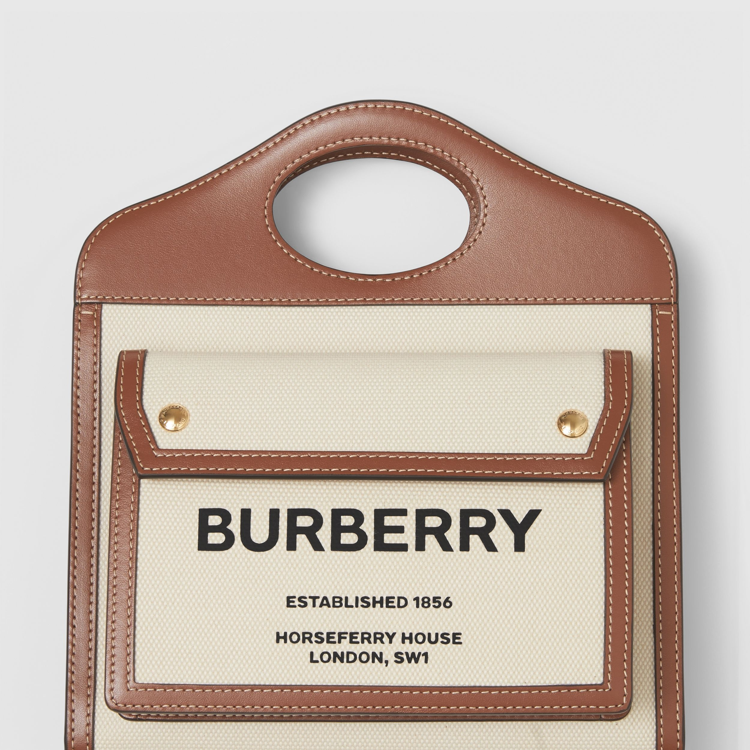 Mini Two-tone Canvas and Leather Pocket Bag in Natural/malt Brown - Women | Burberry - 2