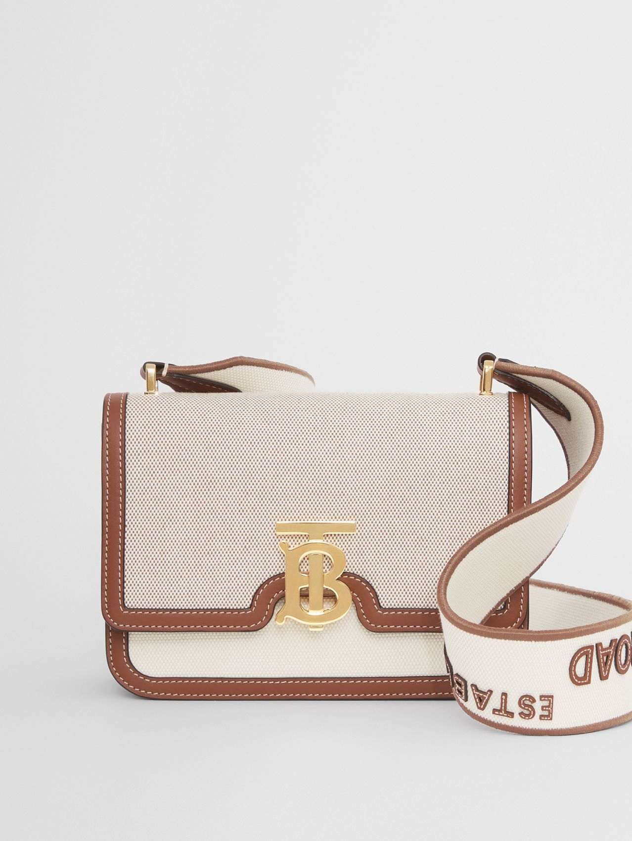 Small Cotton Canvas and Leather TB Bag in Soft Fawn/ecru