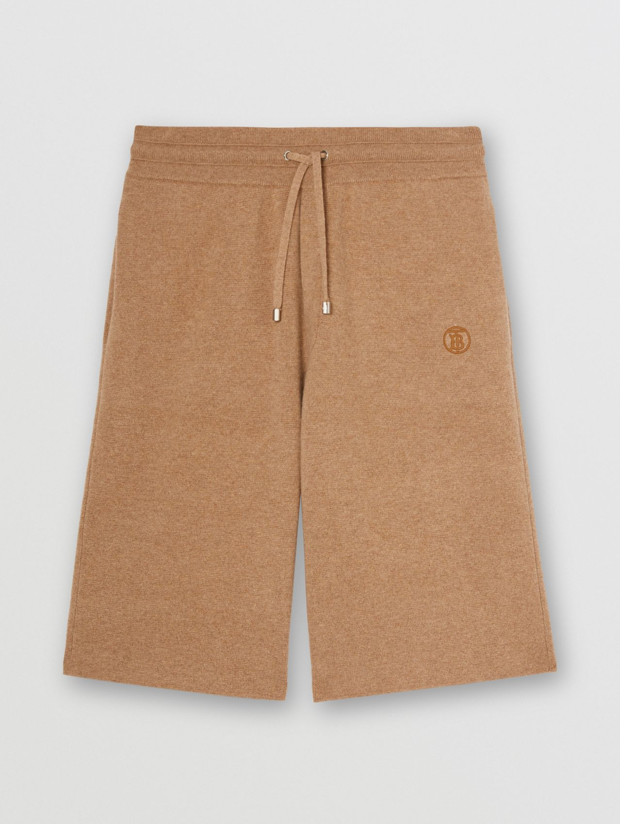 Monogram Motif Cashmere Drawcord Shorts in Pale Coffee