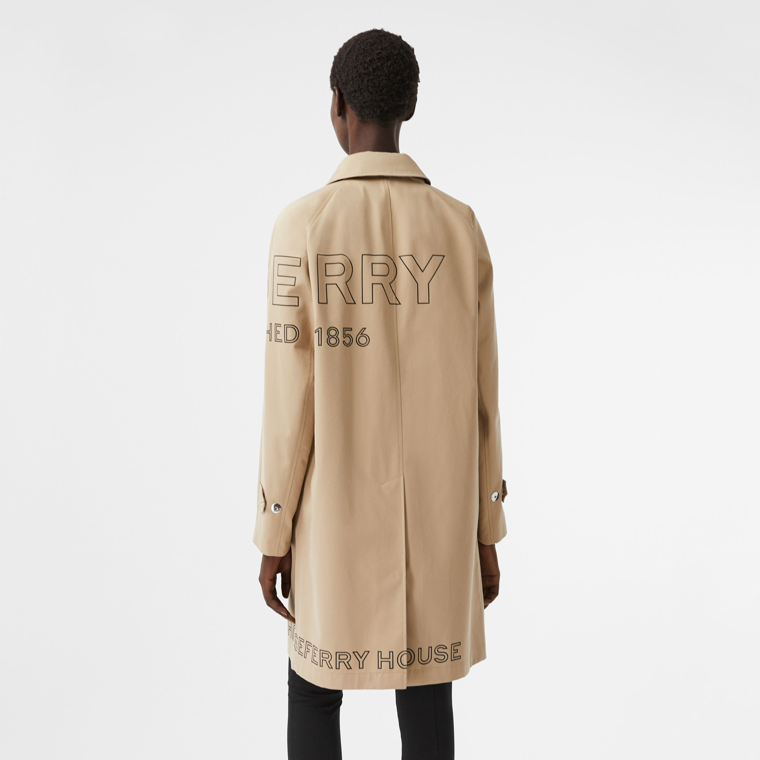 Horseferry Print Cotton Gabardine Car Coat in Honey - Women | Burberry United Kingdom - 3