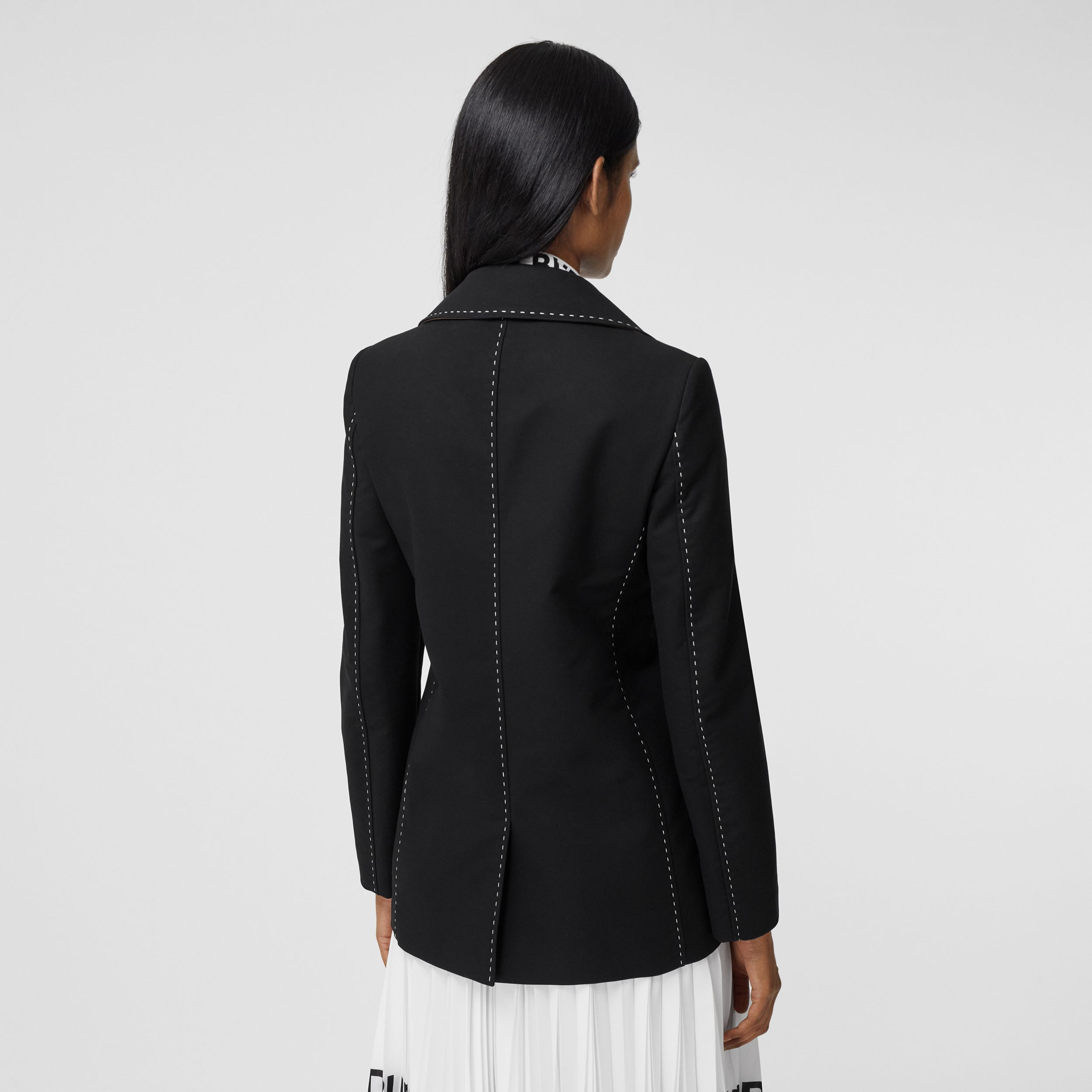 Topstitched Cotton Pea Coat in Black - Women | Burberry - 3